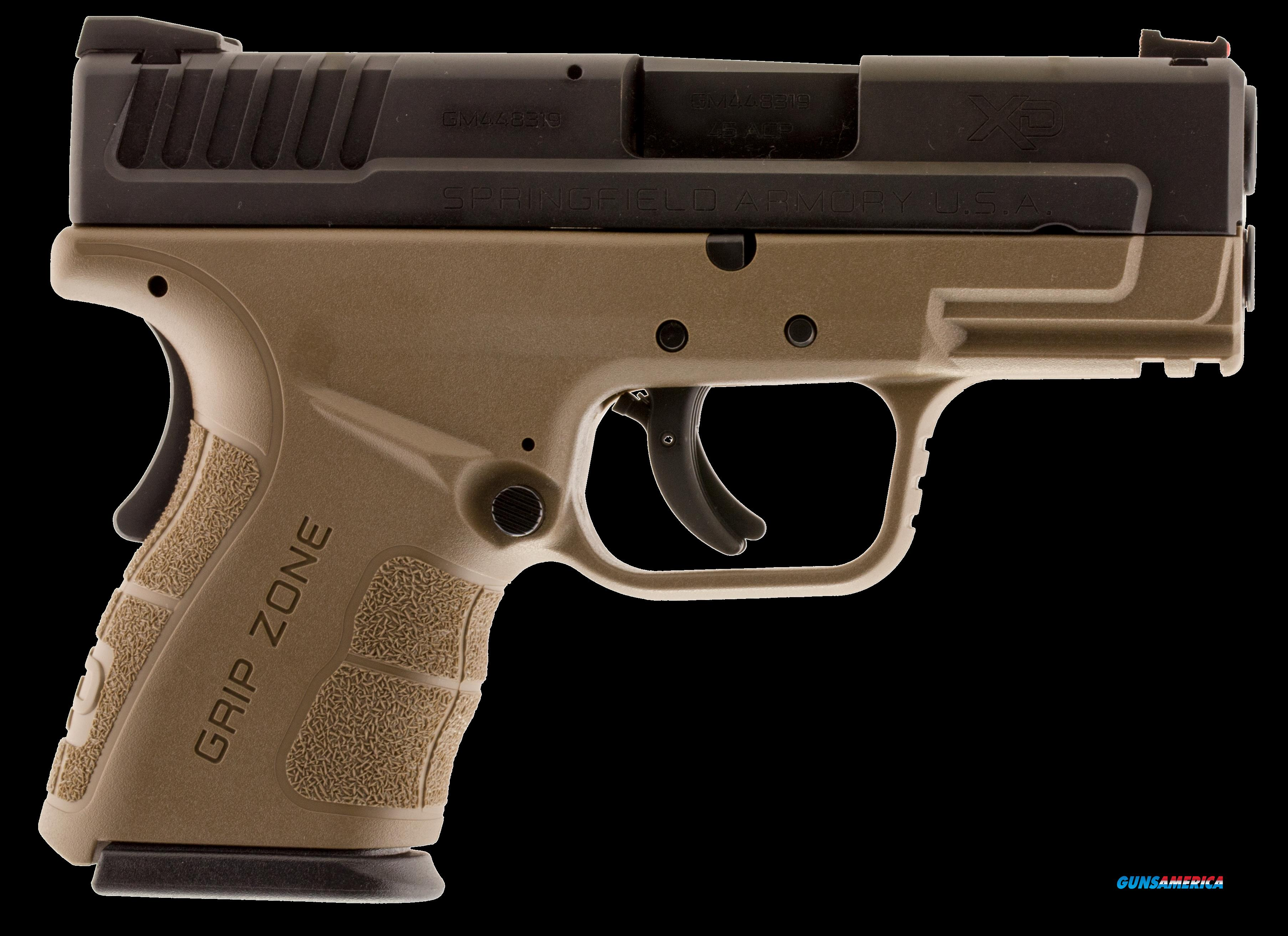 "Springfield Armory XDG9845FDE XD Mod.2 Sub-Compact Double 45 ACP 3.3"" 10+1 Flat Dark Earth Polymer  Guns > Pistols > S Misc Pistols"