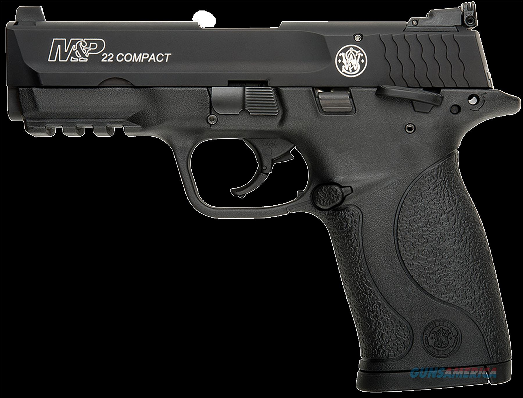 "Smith & Wesson 108390 M&P 22 Compact Single 22 Long Rifle (LR) 3.5"" TB 10+1 Black Polymer Grip/Frame  Guns > Pistols > S Misc Pistols"