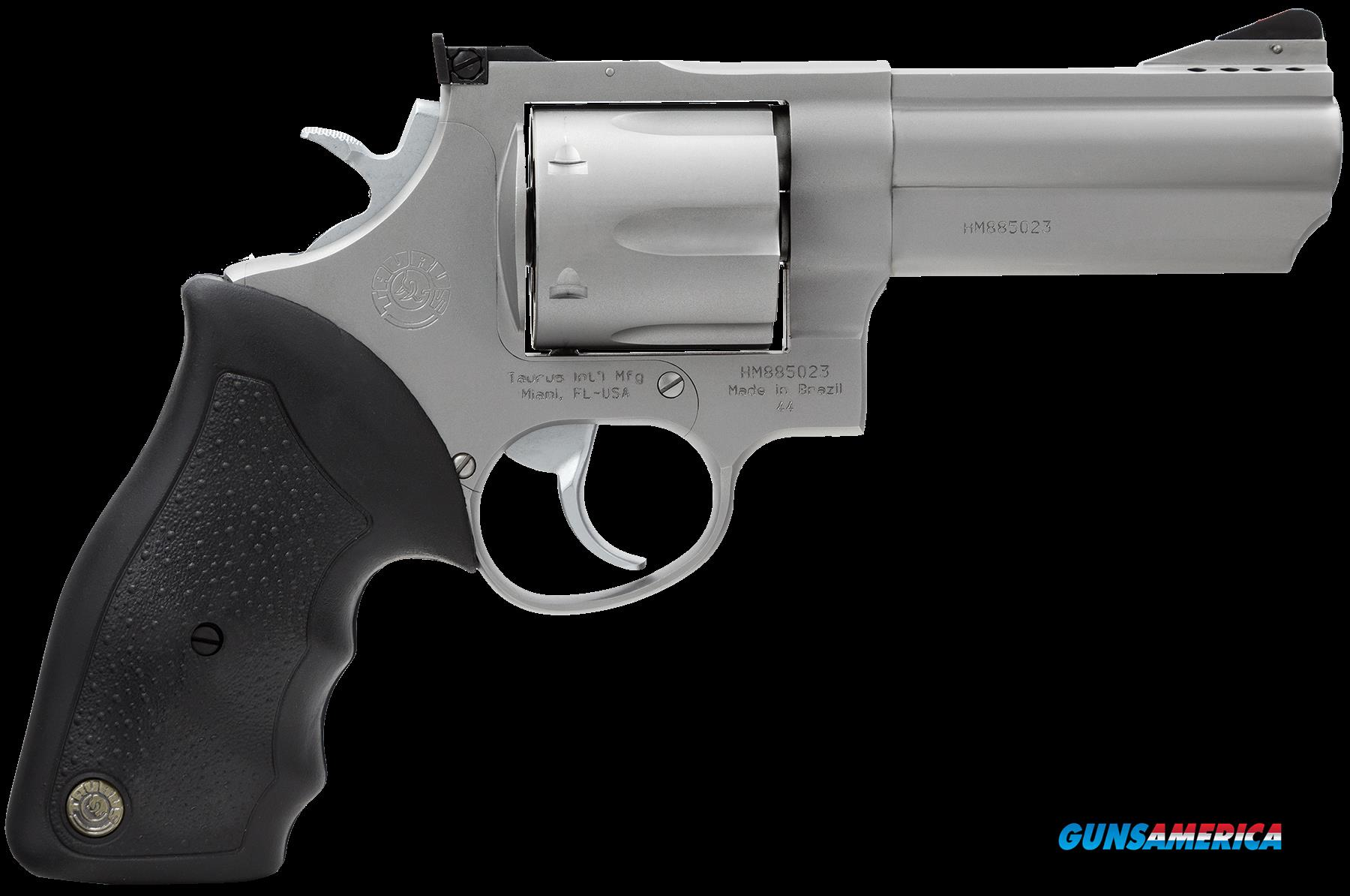 "Taurus 2440049 44 Ported Single/Double 44 Remington Magnum 4"" 6 rd Black Rubber Grip Stainless Steel  Guns > Pistols > Taurus Pistols > Revolvers"