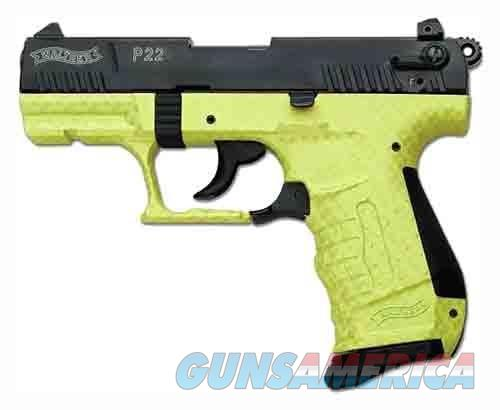 "Walther WALTHER P22 .22LR 3.4"" AS BLK SLIDE/LIME GREEN (TALO) 5120313  Guns > Pistols > Walther Pistols > Post WWII > P22"
