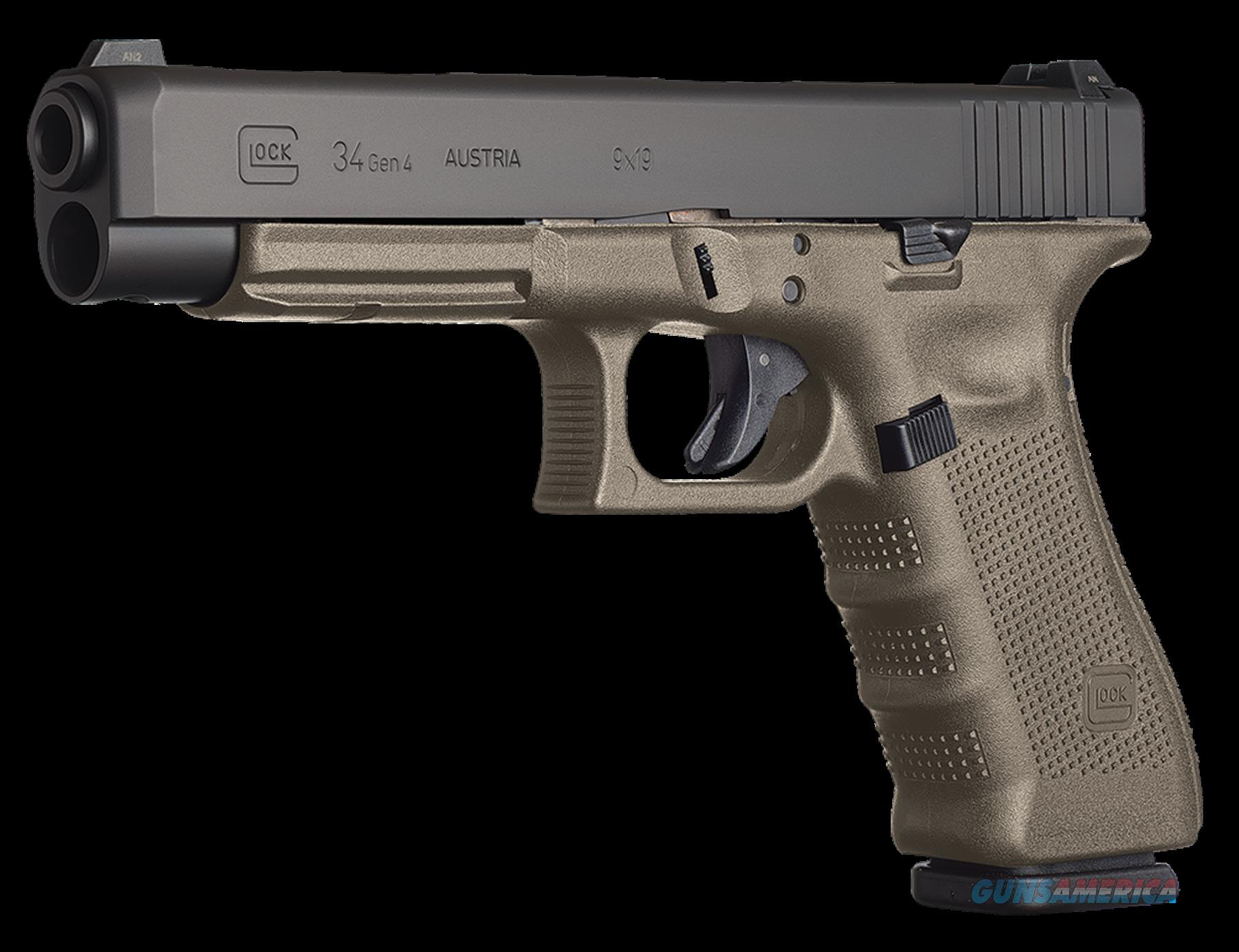 "Glock PG3437103MOS G34 Double 9mm Luger 5.3"" 17+1 OD Green Grip Black  Guns > Pistols > G Misc Pistols"