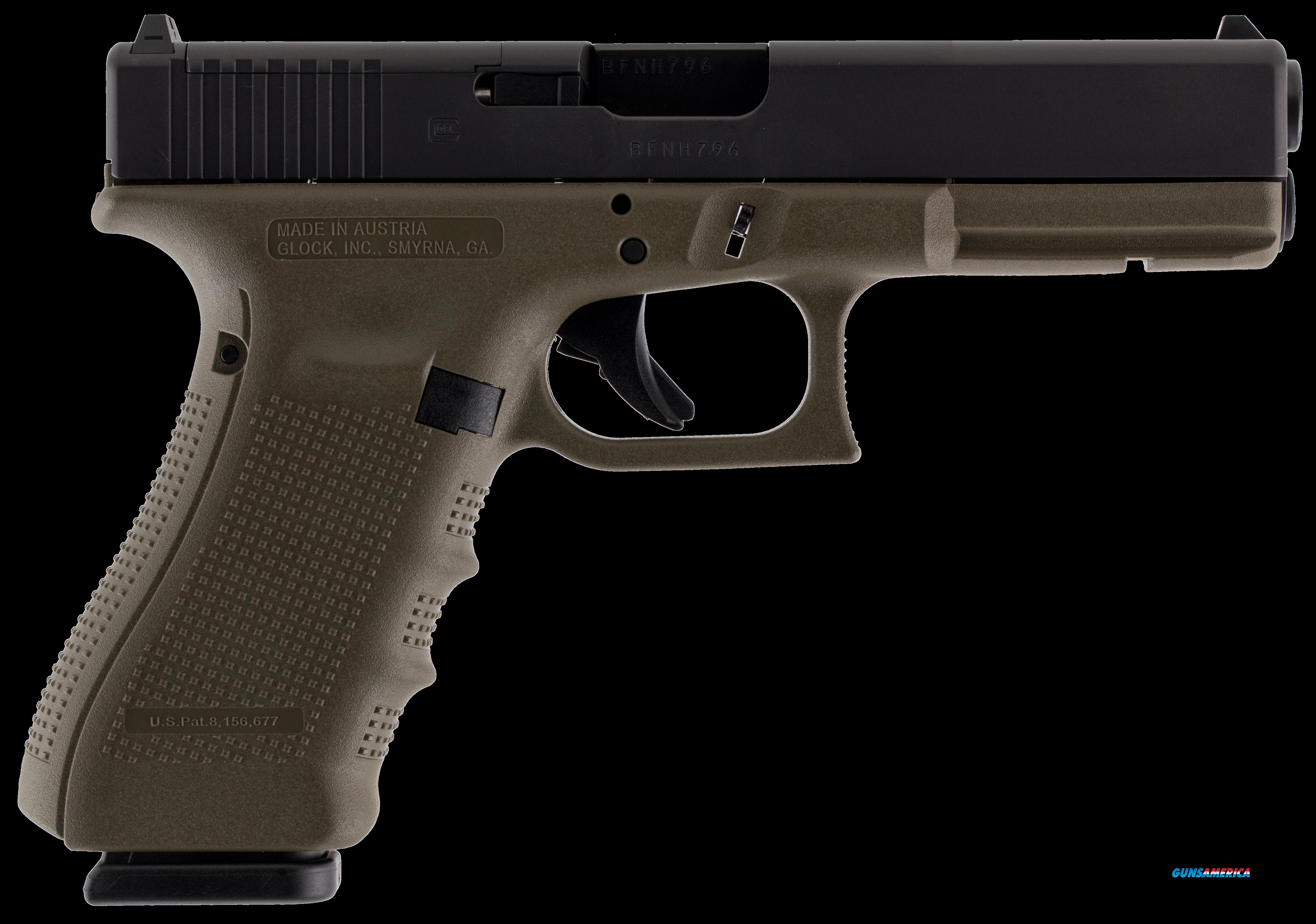 "Glock PG1757203MOS G17 Double 9mm Luger 4.48"" 17+1 OD Green Grip Black  Guns > Pistols > G Misc Pistols"