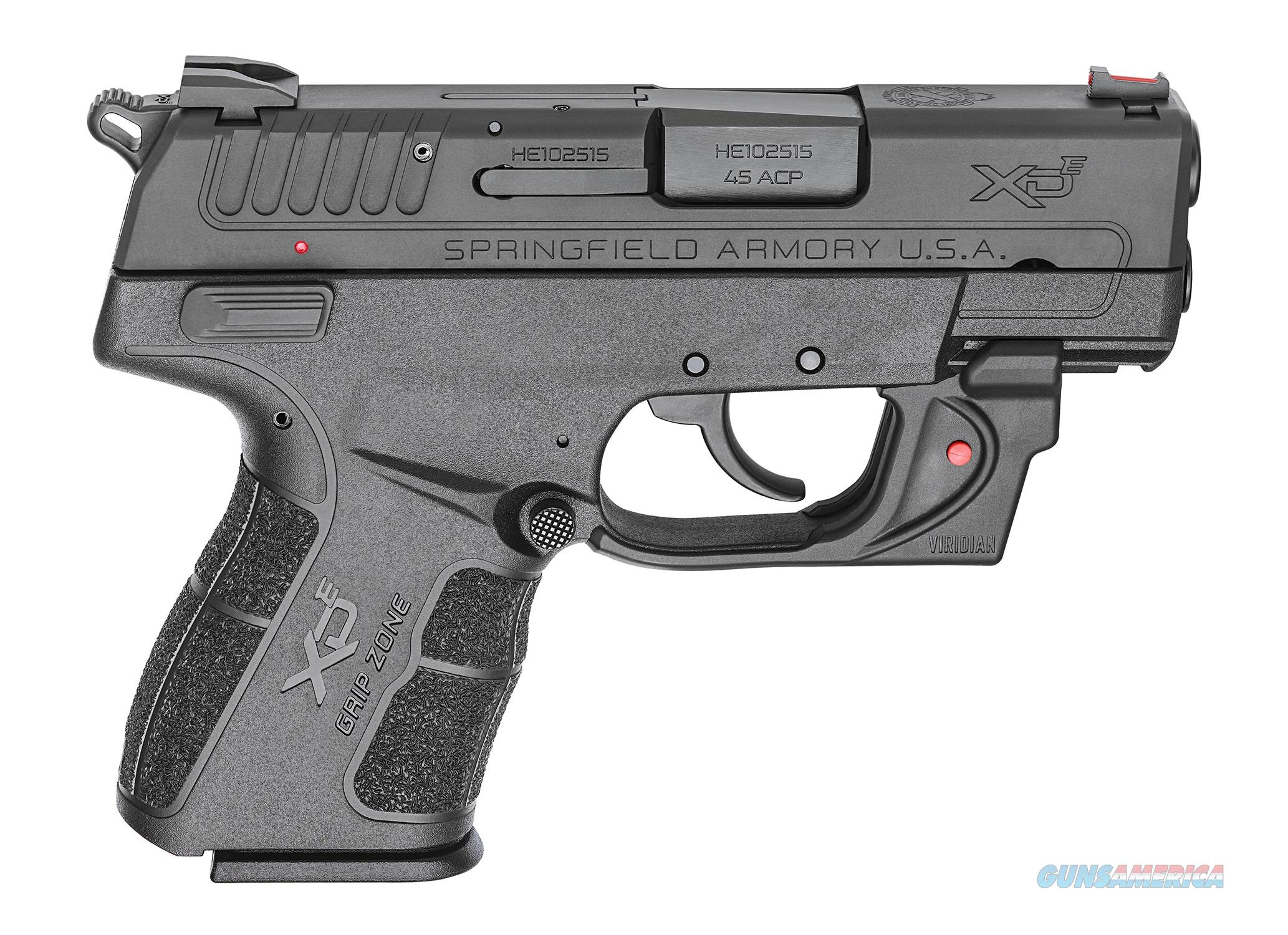 Springfield Armory XDE 45ACP BLK 3.3 7+1 RD LSR RED VIRIDIAN LASER | 2 MAGS  Guns > Pistols > Springfield Armory Pistols > XD-E