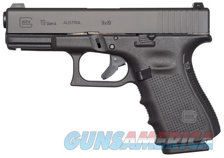 "Glock UG1950201 G19 Gen 4 Compact Double 9mm Luger 4.01"" 10+1 Black Interchangeable Backstrap Grip  Guns > Pistols > G Misc Pistols"