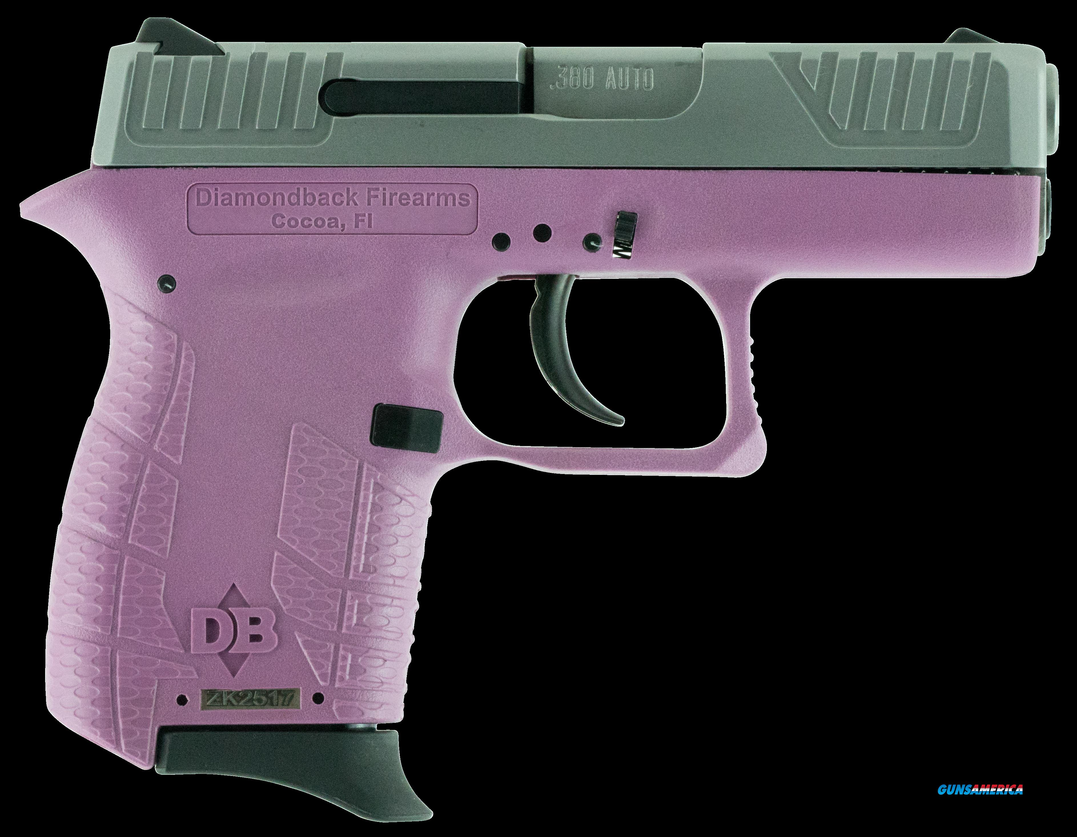 "Diamondback DB380HPEX DAO 380 ACP 2.8"" 6+1 Pink Poly Grip/Frame Nickel Slide  Guns > Pistols > Diamondback Pistols"