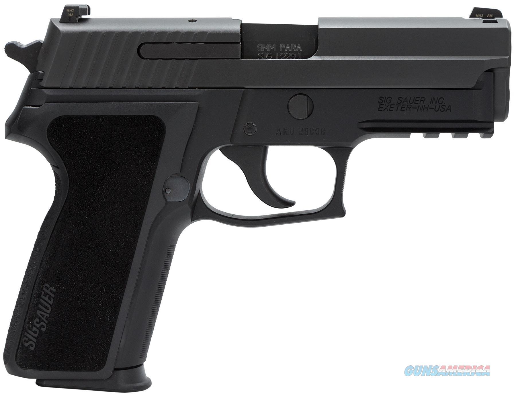Sig Sauer P229 Standard Semi Auto Pistol 9Mm, 3.9 In, Poly Grp, 10+1 Rnd, Night, Compact Blk Frame, Da 229R-9-BSS-CA  Guns > Pistols > S Misc Pistols