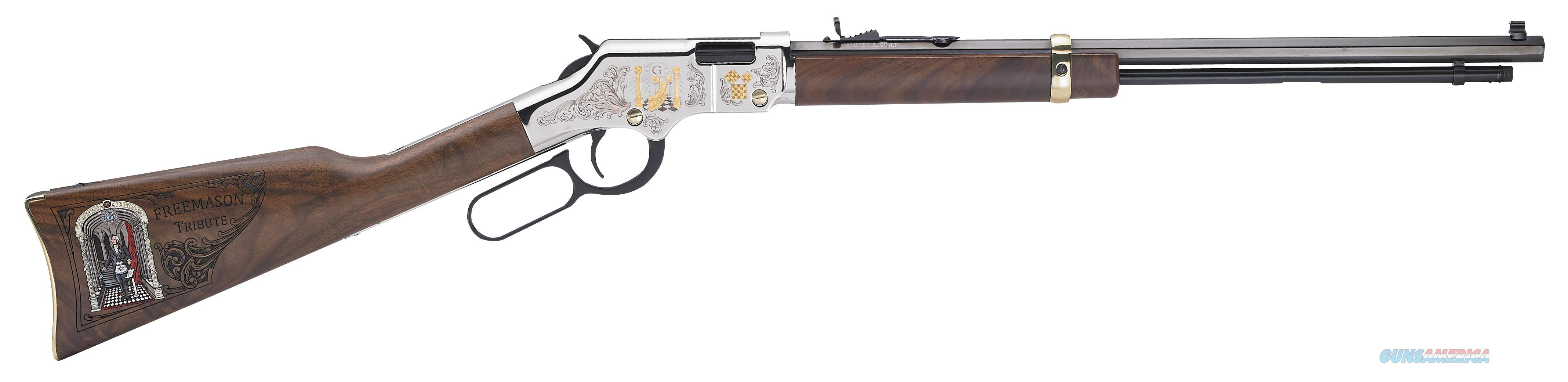 "Henry H004mas Lever Freemasons Tribute Lever 22 Long Rifle 20"" 16+1 American Walnut Stk Blued Barrel/Nickel Receiver H004MAS  Guns > Rifles > H Misc Rifles"