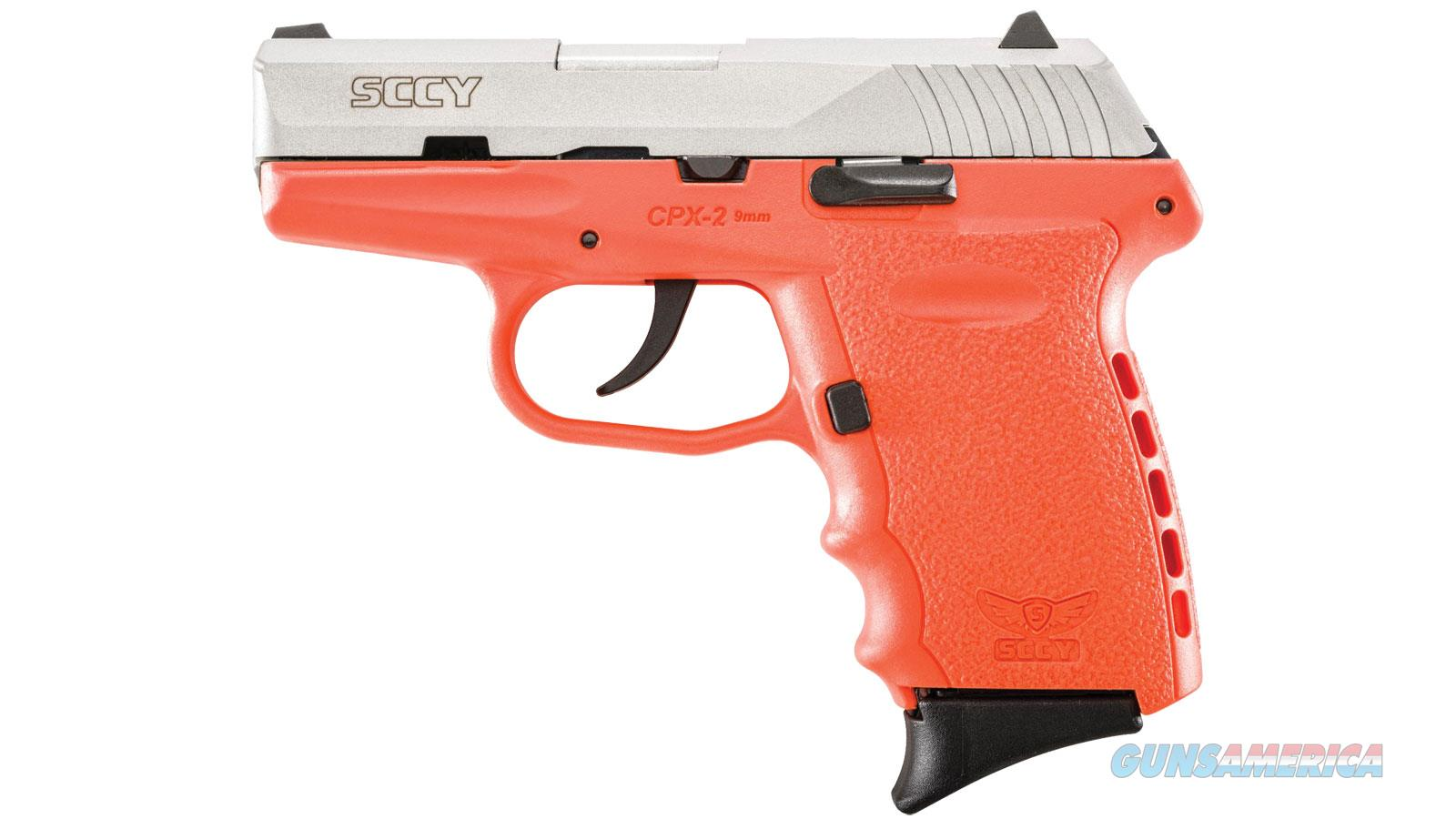 """Sccy Industries Cpx2ttor Cpx-2   9Mm Luger Double 3.1"""" 10+1 Orange Polymer Grip/Frame Grip Stainless Steel Slide CPX 2TTOR  Guns > Pistols > S Misc Pistols"""