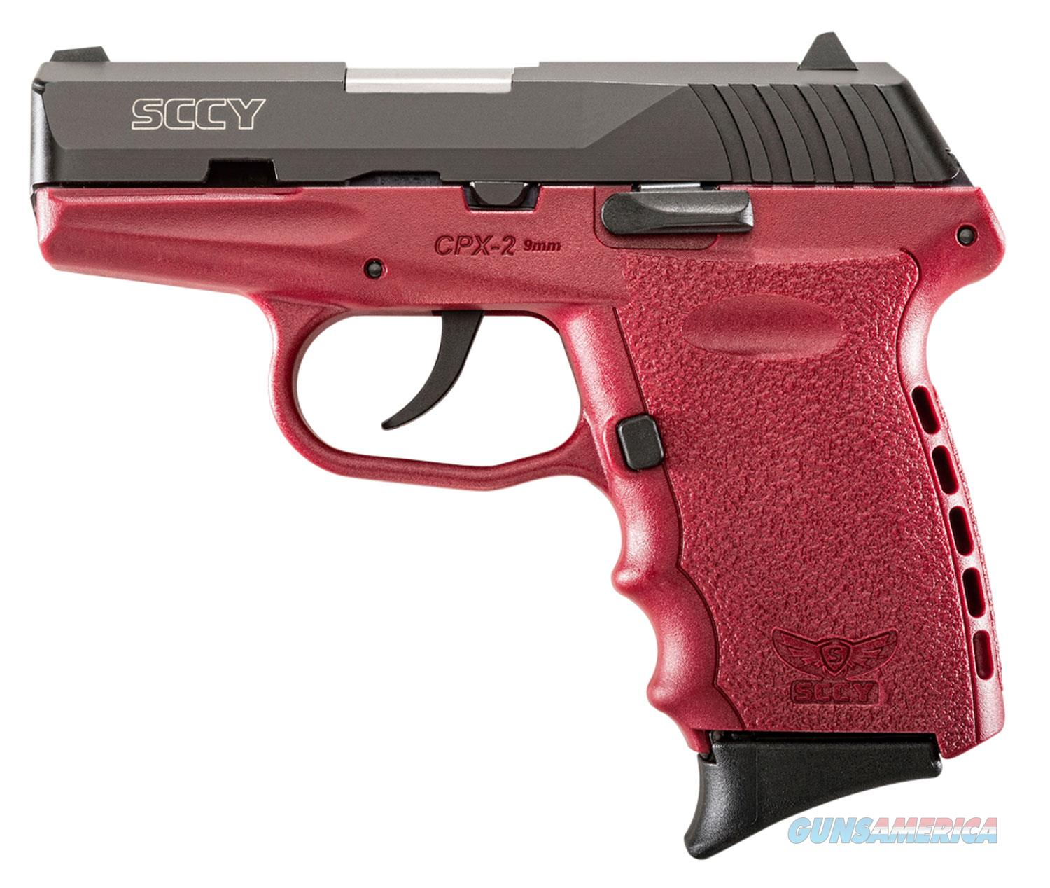 Sccy Industries Cpx2-Cb Pistol Dao 9Mm 10Rd Black/Crimson W/O Safety CPX 2CBCR  Guns > Pistols > S Misc Pistols