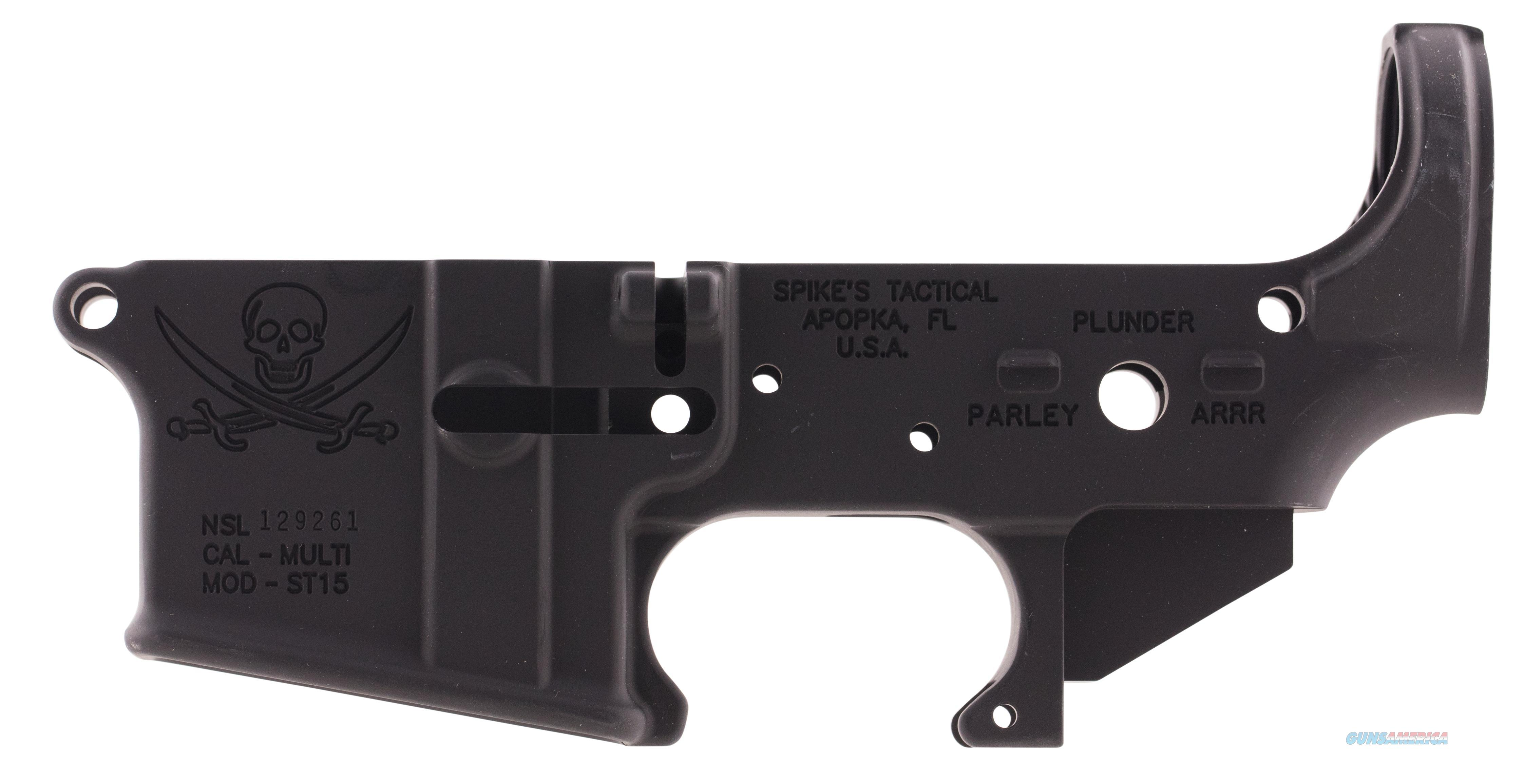 Spikes Stls016 Stripped Lower Pirate Ar-15 Multi-Caliber Black Hardcoat Anodized STLS016  Guns > Rifles > S Misc Rifles