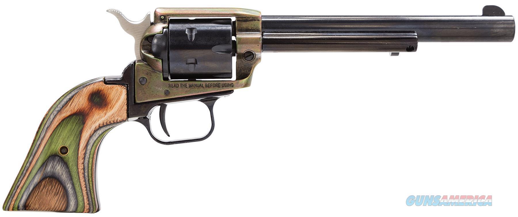 "Heritage Mfg Rr22ch6 Rough Rider Small Bore Single 22 Long Rifle 6.5"" 6 Camo Laminate Blued RR22CH6  Guns > Pistols > Heritage"