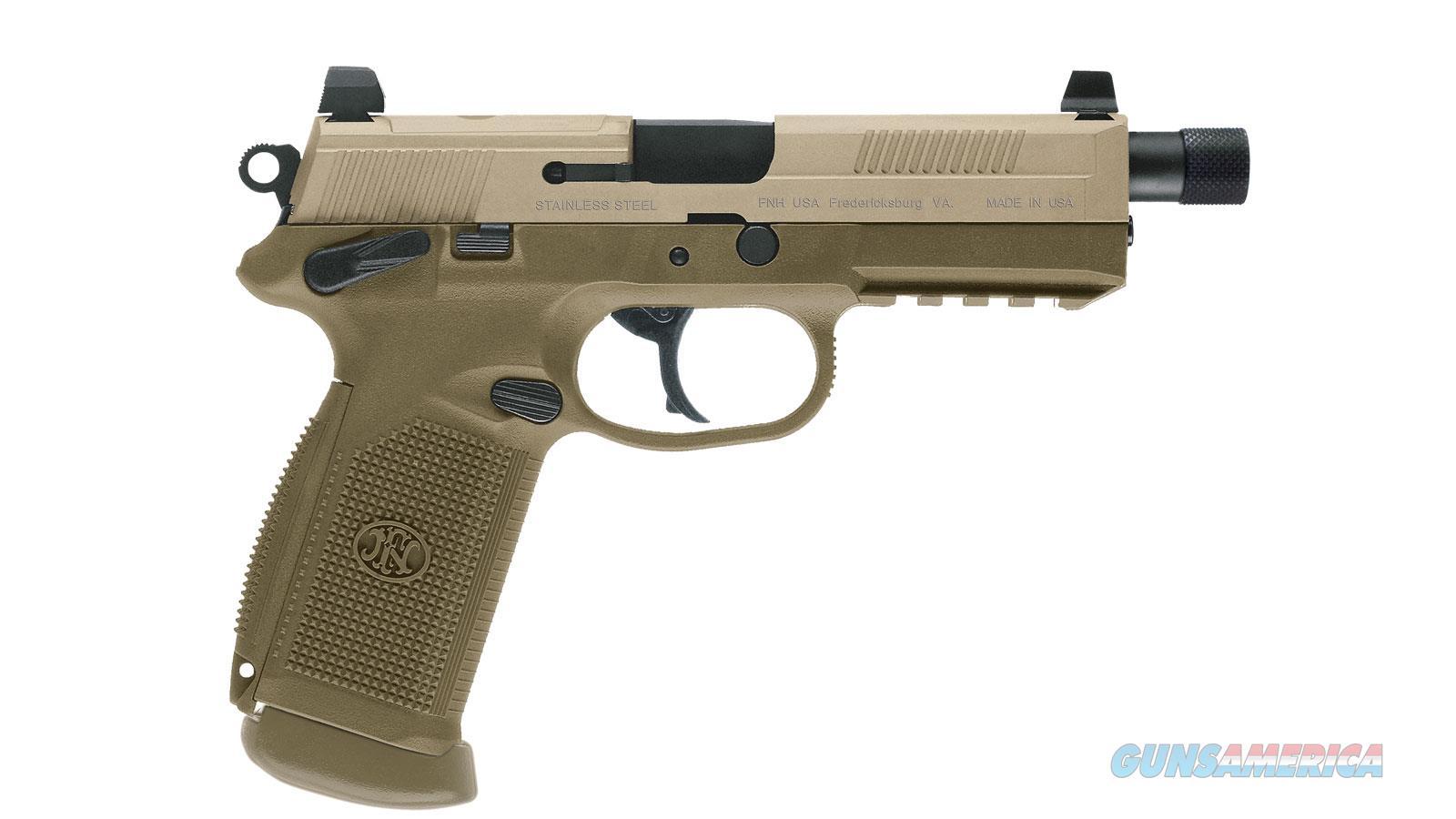 "Fn 66968 Fnx 45 Tactical 45 Acp Single/Double 5.3"" 15+1 Flat Dark Earth Interchangeable Backstrap Grip Flat Dark Earth Stainless Steel Slide 66968  Guns > Pistols > F Misc Pistols"
