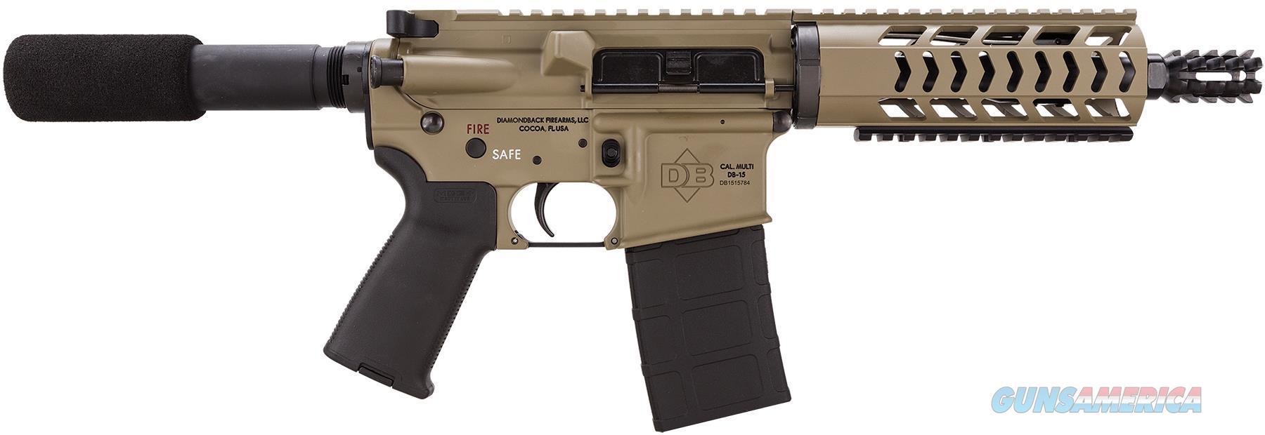 "Diamondback Db15pfde10 Db15 Ar Pistol Semi-Automatic 223 Remington/5.56 Nato 10.5"" 30+1  Flat Dark Earth Cerakote Receiver/Black Barrel 815875017288  Guns > Pistols > D Misc Pistols"