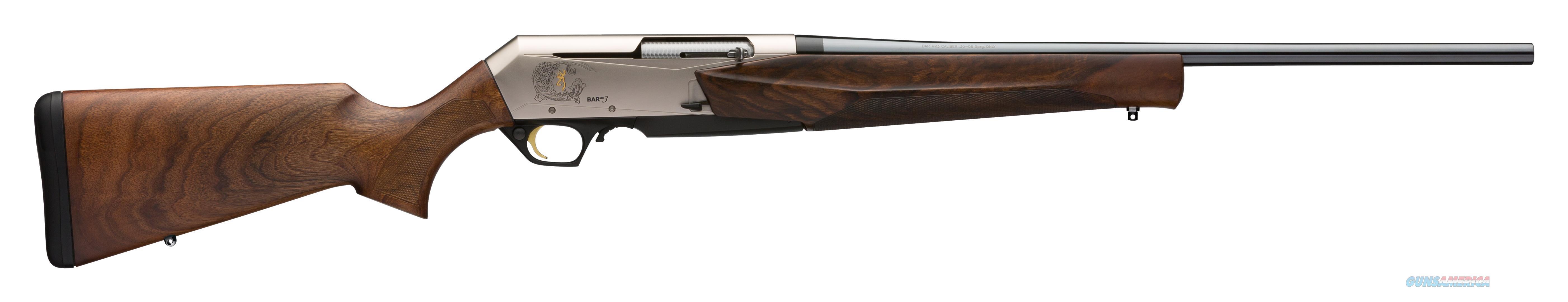 "Browning 031047246 Bar Mk3 Semi-Automatic 300 Winchester Short Magnum (Wsm) 23"" 3+1 Walnut Stk Nickel Receiver/Blued Barrel 031047246  Guns > Rifles > B Misc Rifles"