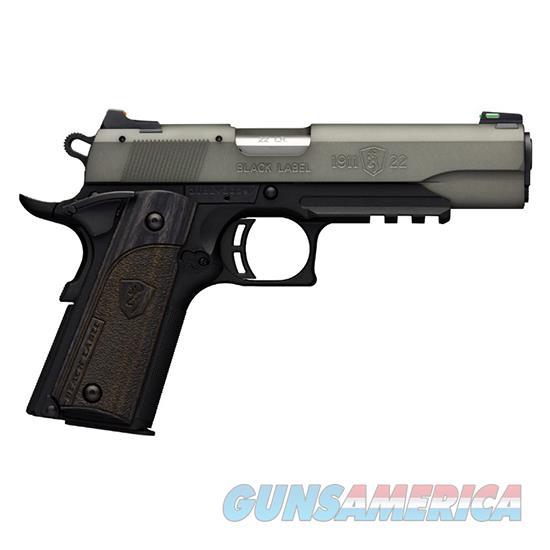 Browning 1911-22 Blk Label Fs 22Lr 4.25 Gry W/ Rail 051848490  Guns > Pistols > B Misc Pistols