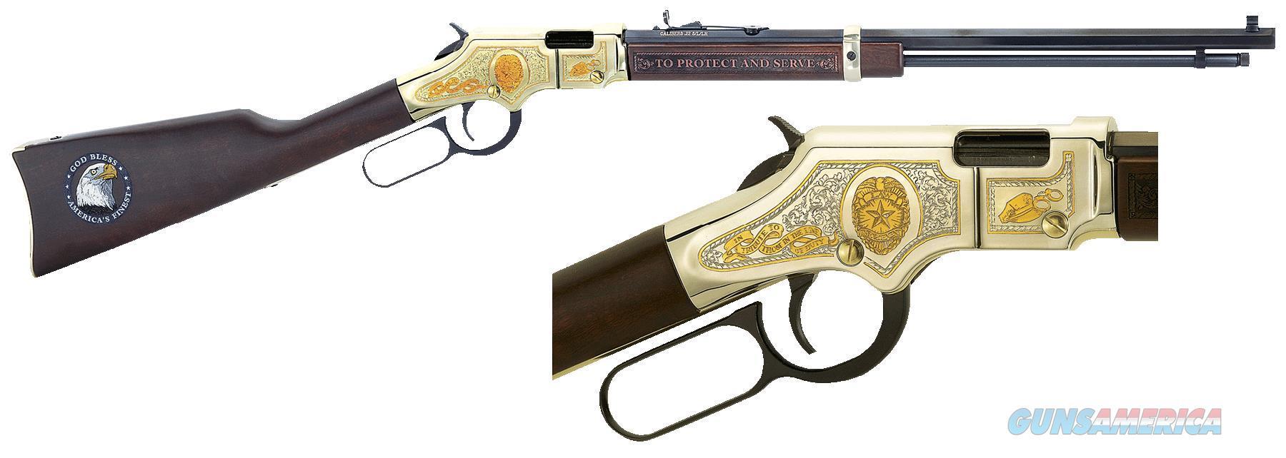 "Henry H004le Golden Boy Law Enforcement Tribute  Lever 22 Short/Long/Long Rifle 20"" 16 Lr/21 Short American Walnut Stk Nickel Receiver/Blued Barrel H004LE  Guns > Rifles > H Misc Rifles"