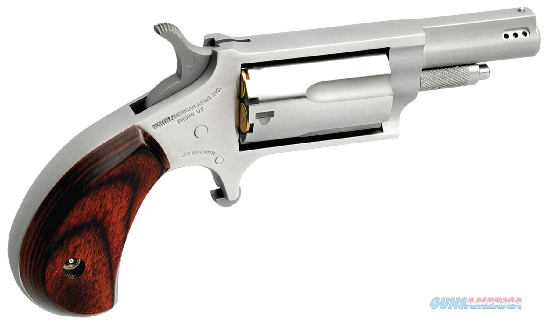 """Naa Naa22mp 22 Magnum Ported Single 22 Winchester Magnum Rimfire (Wmr) 1.6"""" 5 Rosewood Stainless NAA-22M-P  Guns > Pistols > North American Arms Pistols"""