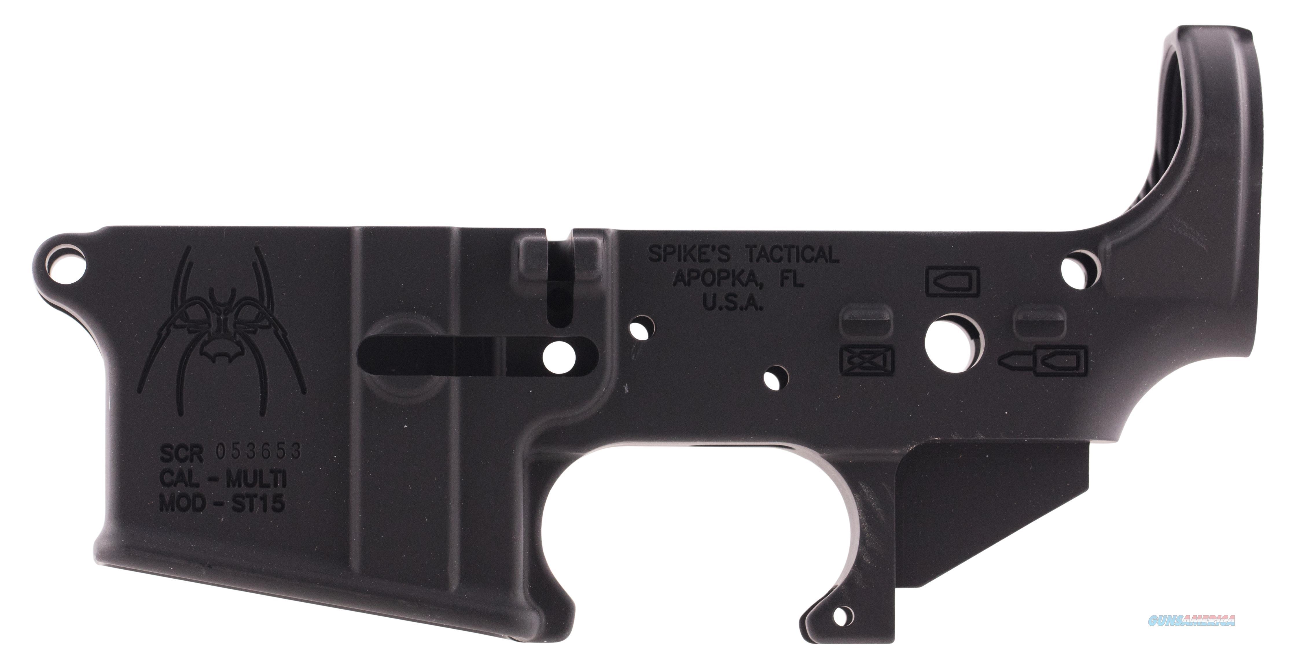 Spikes Stls019 Stripped Lower Spider Bullet Markings Ar Platform Rifle Multi-Caliber Black Hardcoat Anodized STLS019  Guns > Rifles > S Misc Rifles