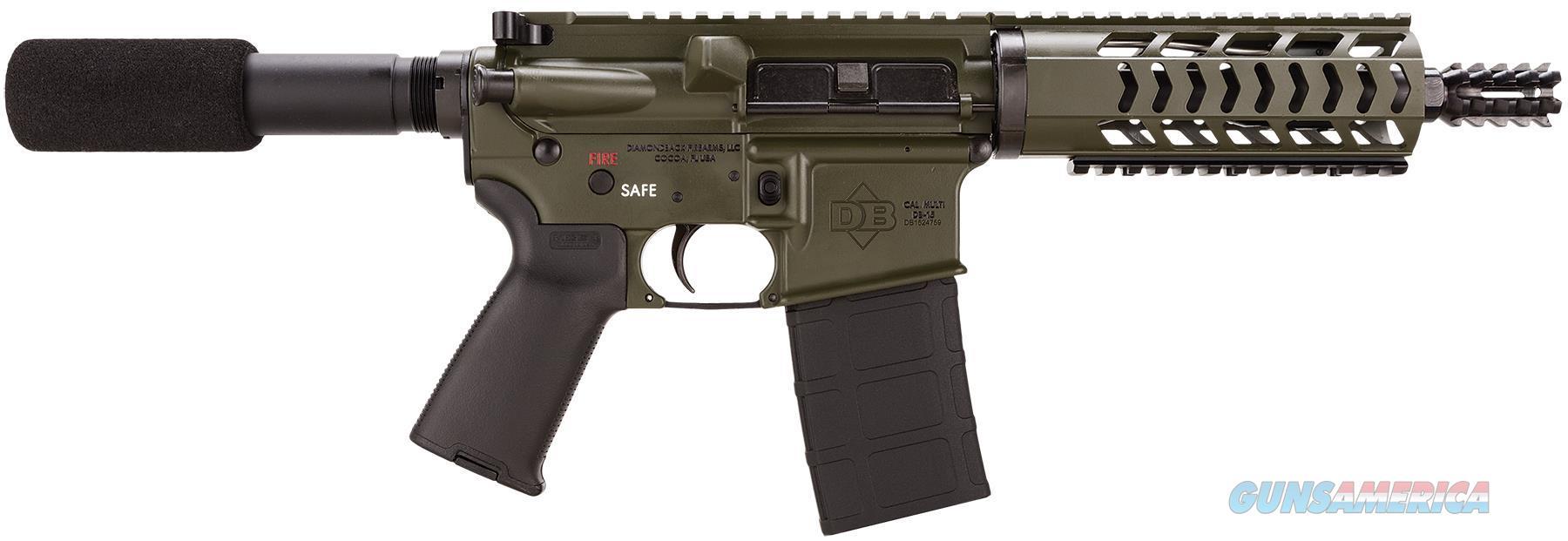 "Diamondback Db15podg7 Db15 Ar Pistol Semi-Automatic 223 Remington/5.56 Nato 7.5"" 30+1  Olive Drab Cerakote Receiver/Black Barrel DB15PODG7  Guns > Pistols > D Misc Pistols"