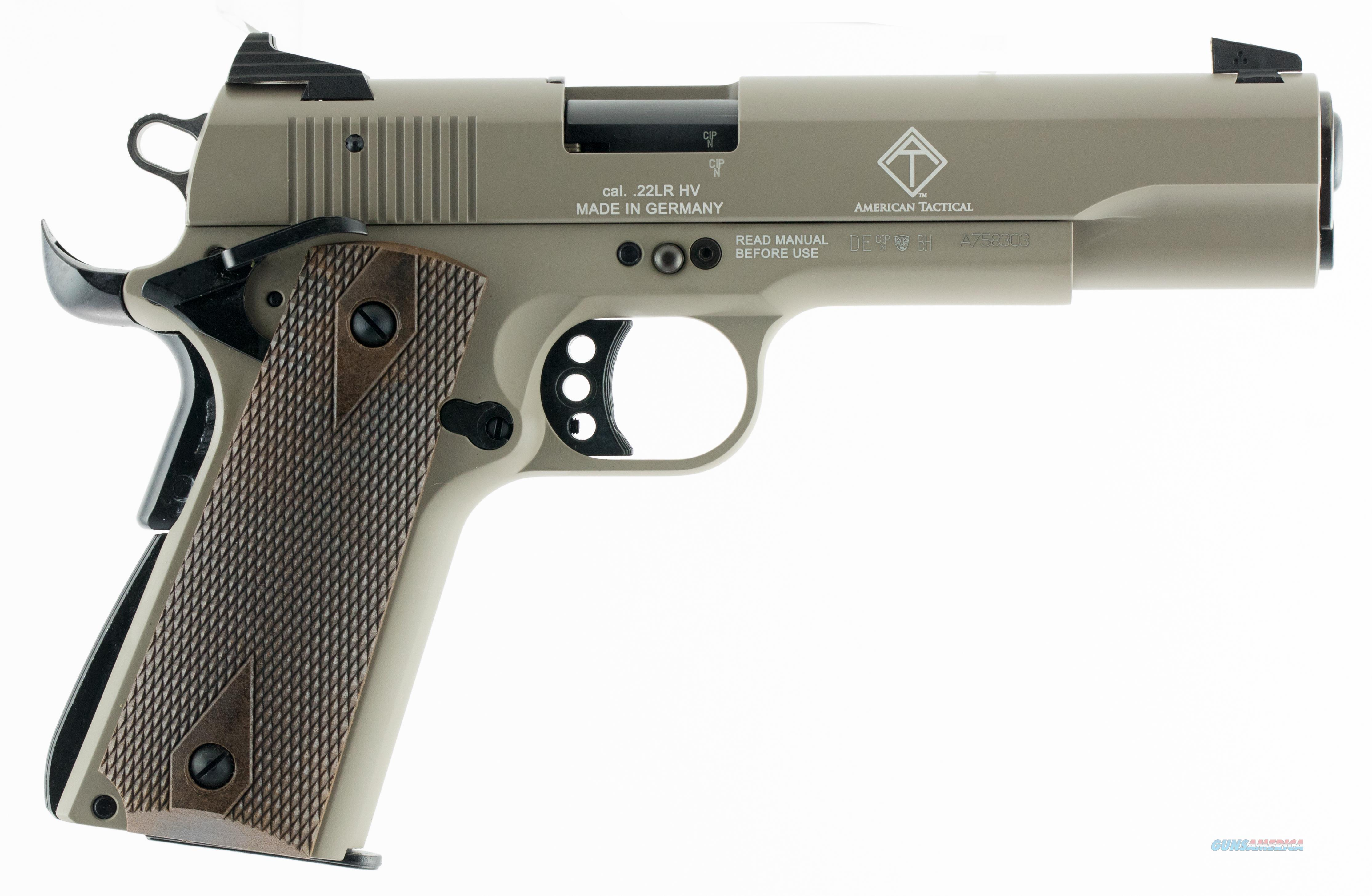 AMERICAN TACTICAL GSG 1911 22LR 5 BLUED WOOD GRIP TAN 10RD GERG2210M1911T  Guns > Pistols > North American Arms Pistols
