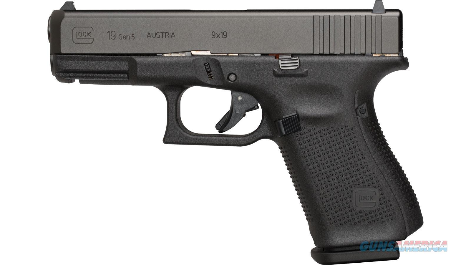 "Glock G19 Gen5 Semi-Auto Pistol, 9Mm, 4.02"" Bbl, Poly Grip, 10+1 Rnd Fixed Sights PA1950201  Guns > Pistols > G Misc Pistols"