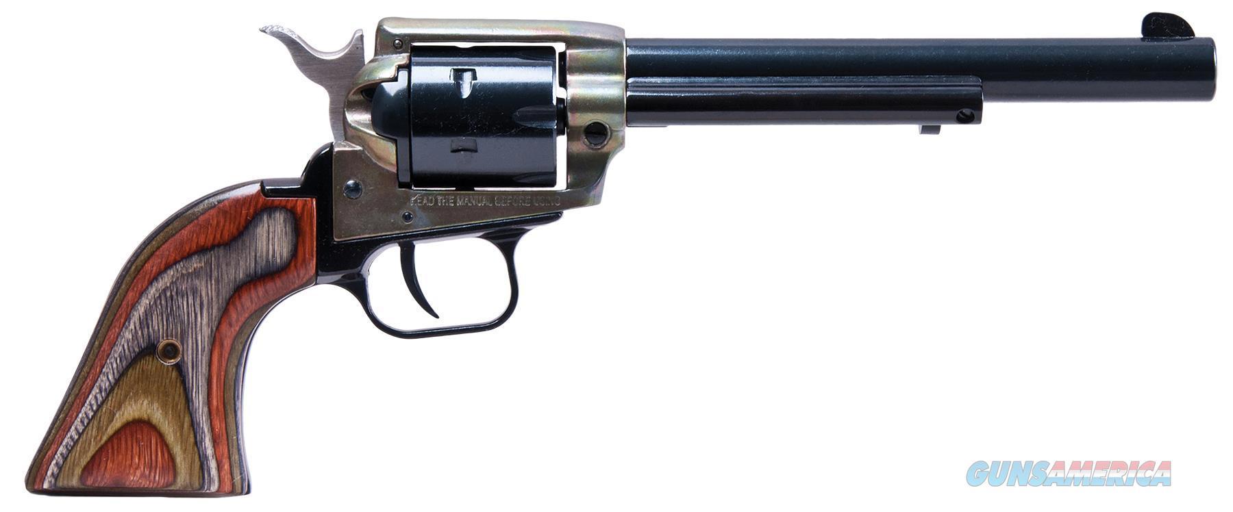 "Heritage Mfg Rr22mch6 Rough Rider Small Bore Single 22 Long Rifle 6.5"" 6 Camo Laminate Black RR22MCH6  Guns > Pistols > Heritage"