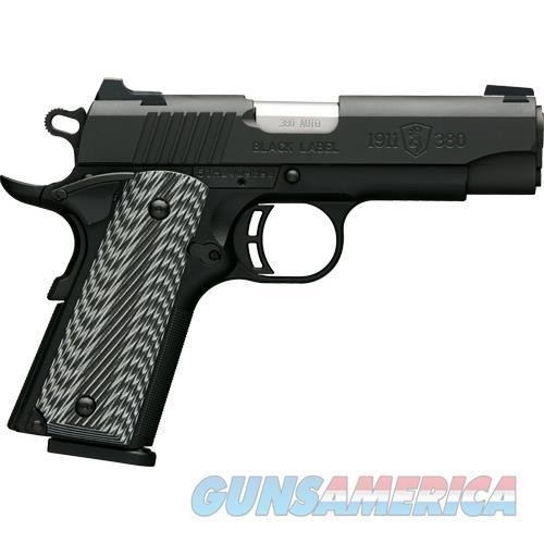 Browning Blk Label Pro Compact 1911 .380Acp Fs 8-Shot Black G10 051908492  Guns > Pistols > B Misc Pistols