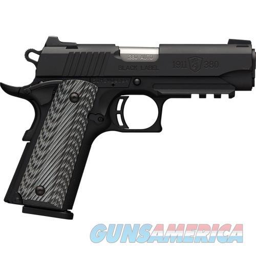 Browning Blk Label Pro Compact 1911 .380Acp Fs 8Sh W/Rail Blk G10 051909492  Guns > Pistols > B Misc Pistols