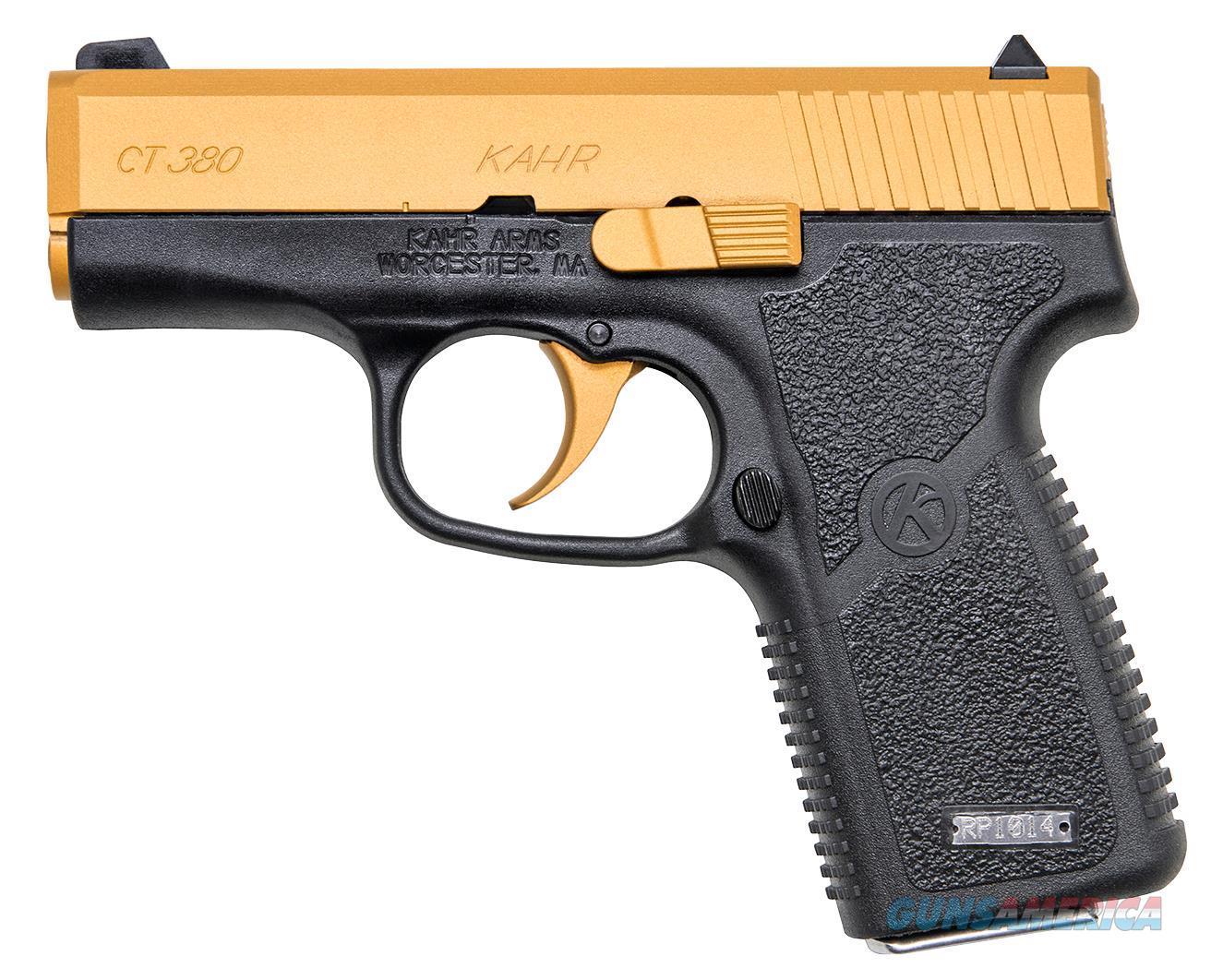 "Kahr Arms Ct3833cg Ct380 Gold Cerakote Dao 380 Acp 3"" 7+1 Black Polymer Grip/Frame Gold Cerakote CT3833CG  Guns > Pistols > K Misc Pistols"