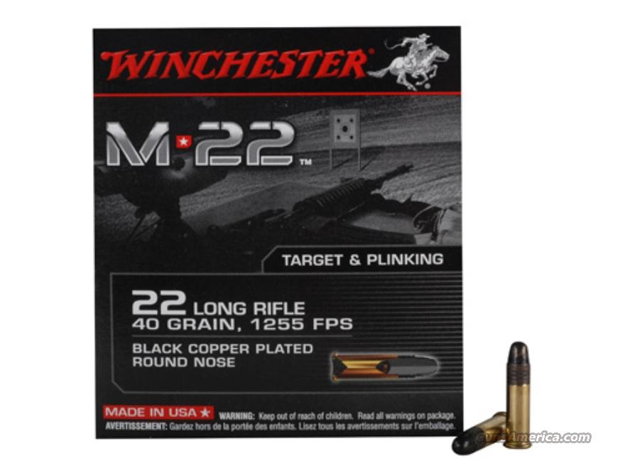 (1,000rd) Winchester M-22 Ammunition 22 Long Rifle 40 Grain Black Plated Lead Round Nose  Non-Guns > Ammunition