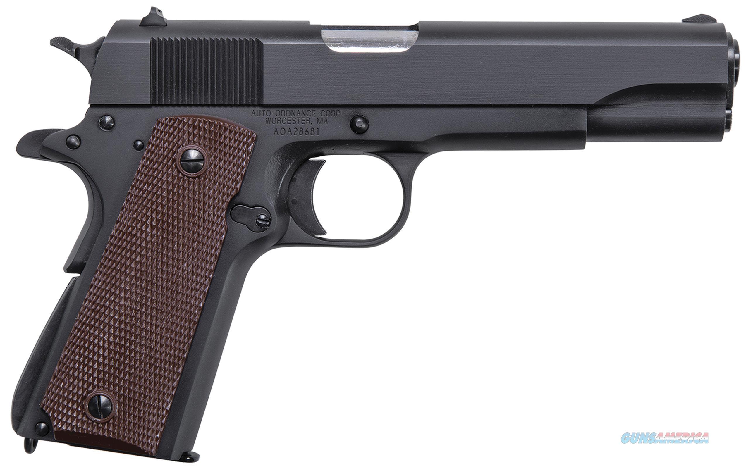 "Thompson 1911Bko 1911 Matte Black Single 45 Acp 5.0"" 7+1 Brown Checkered Grp Blk 1911BKO  Guns > Pistols > A Misc Pistols"