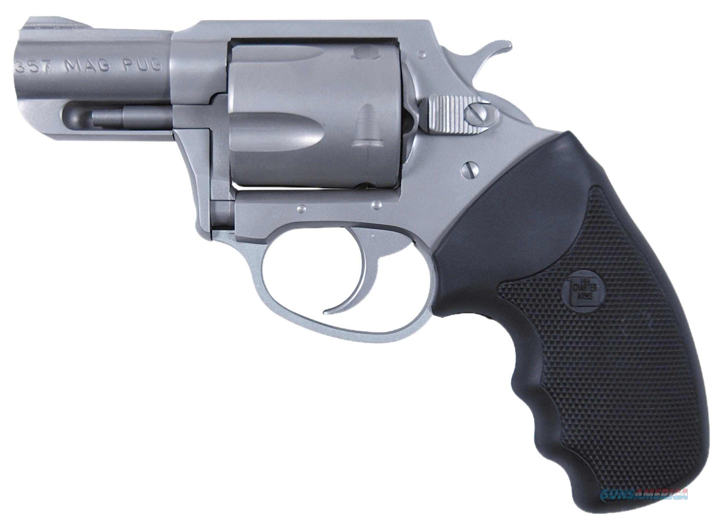 """Charter Arms 73520 Mag Pug Standard Single/Double 357 Magnum 2.2"""" 5 Black Rubber Stainless 73520  Guns > Pistols > C Misc Pistols"""