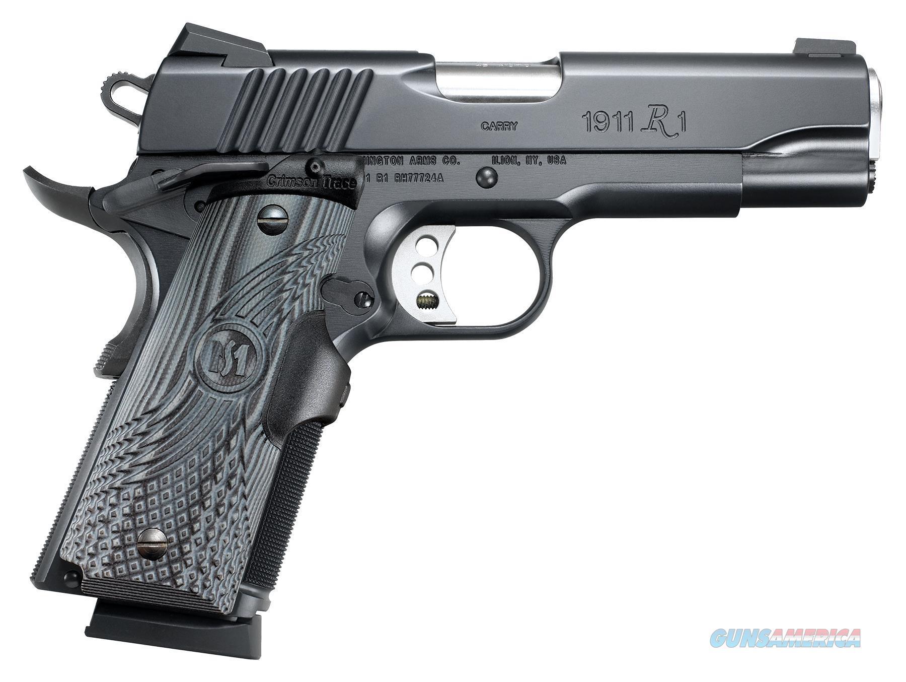 """Remington Firearms 96356 1911 R1 Commander Carry Single 45 Automatic Colt Pistol (Acp) 4.25"""" 7+1 Black G10 W/Crimson Trace Laser Grip Black Carbon Steel 96356  Guns > Pistols > R Misc Pistols"""