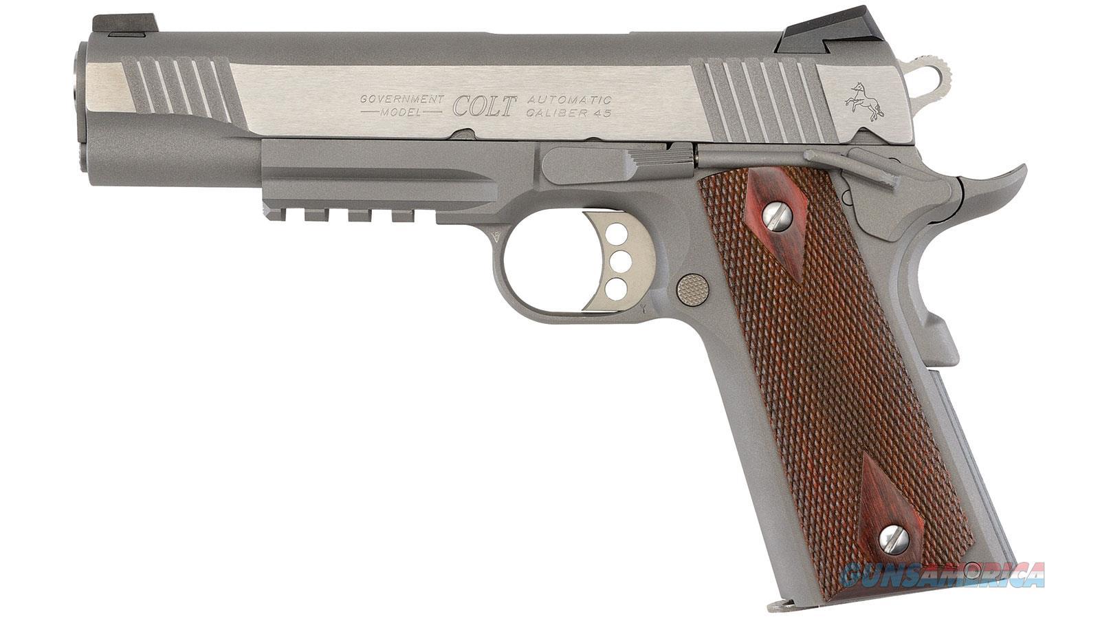 Colt Govt 9Mm Luger Rail Gun Fs Stainless 9-Shot Rosewood < O1072RG  Guns > Pistols > C Misc Pistols