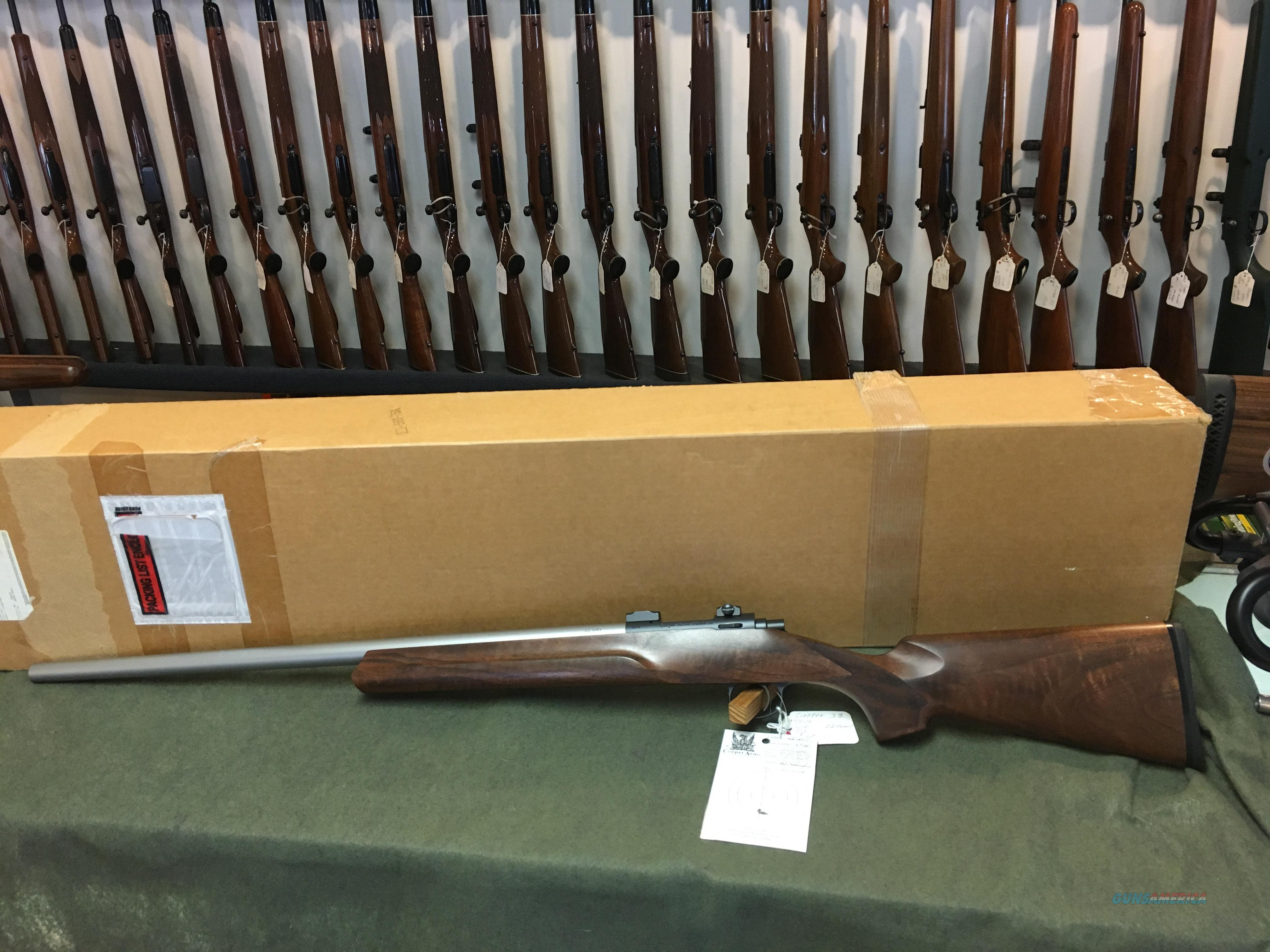COOPER MODEL 38 .22 HORNET WITH BOX AND TARGET  Guns > Rifles > Cooper Arms Rifles