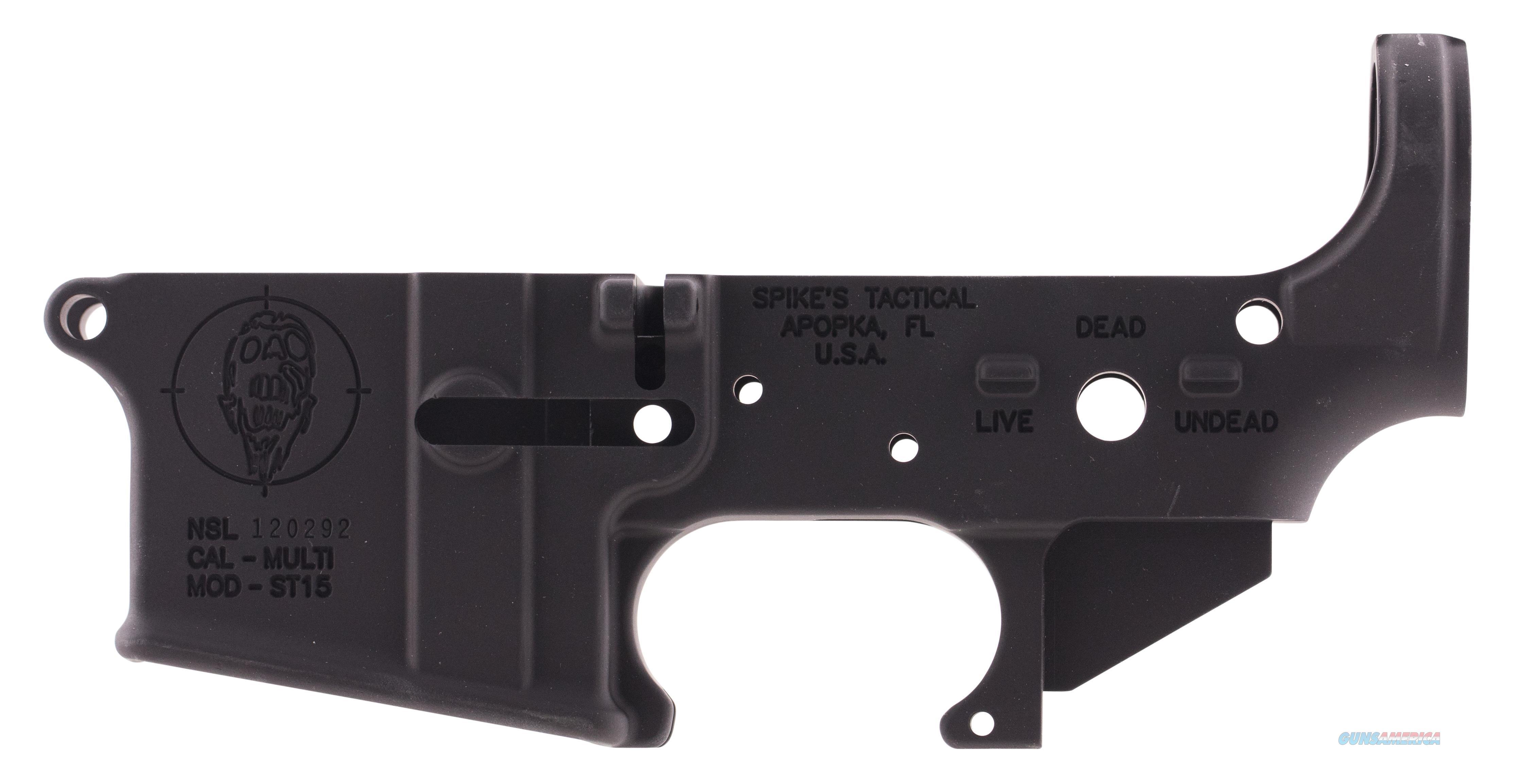 Spikes Stls011 Stripped Lower Zombie Ar-15 Multi-Caliber Black Hardcoat Anodized STLS011  Guns > Rifles > S Misc Rifles
