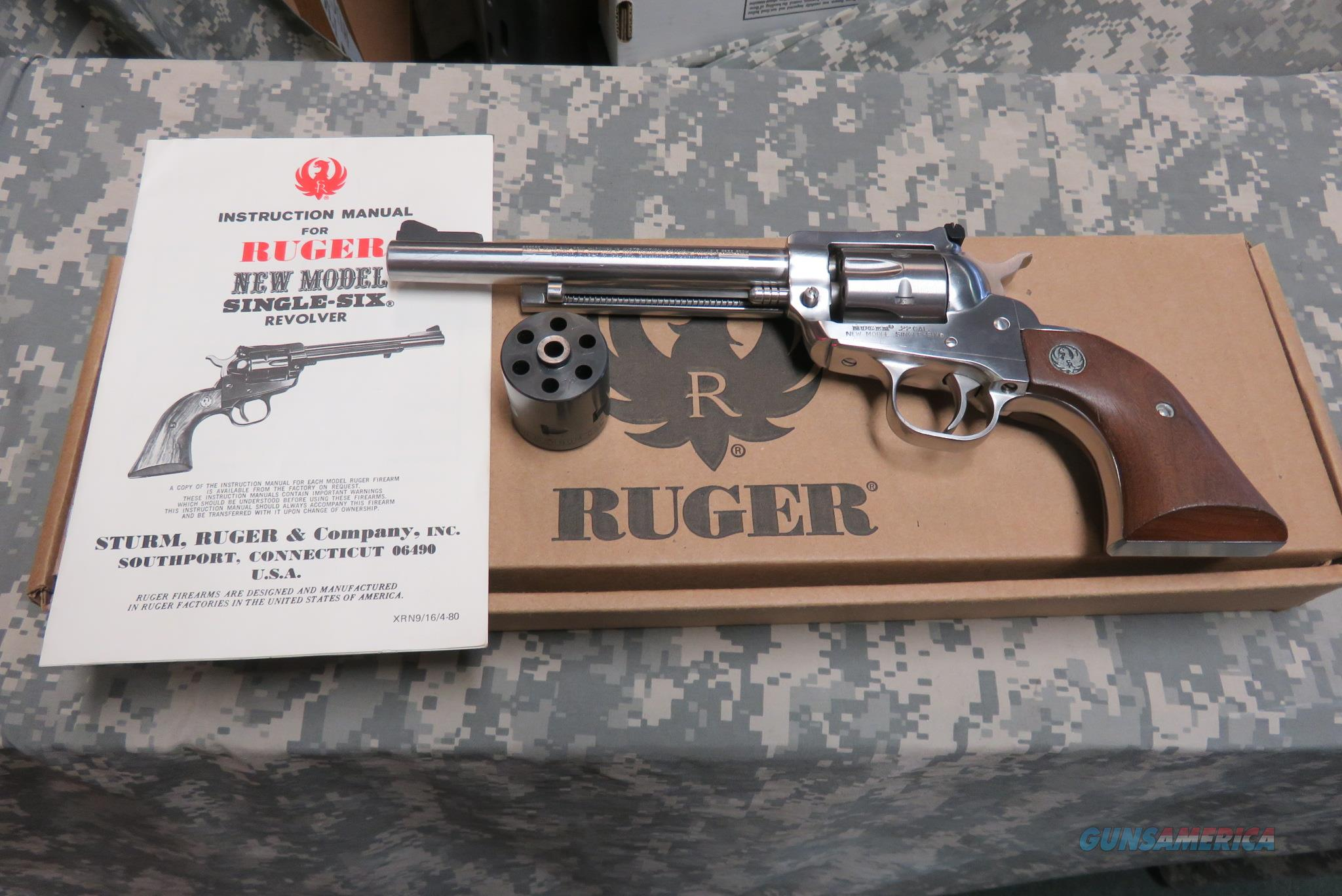 "RUGER N.M. SINGLE SIX 22LR, 6 1/2"" STAINLESS WITH BLUED MAGNUM CYLINDER  Guns > Pistols > Ruger Single Action Revolvers > Single Six Type"