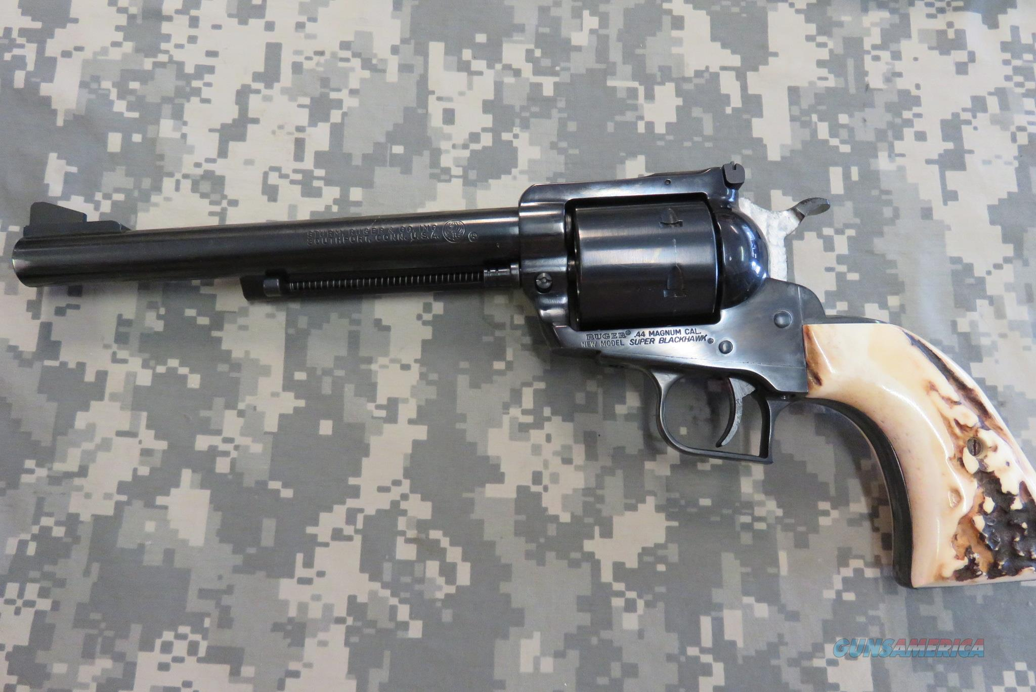RUGER '200TH YEAR' SUPER BLACKHAWK 44 MAG WITH STAG GRIPS  Guns > Pistols > Ruger Single Action Revolvers > Blackhawk Type