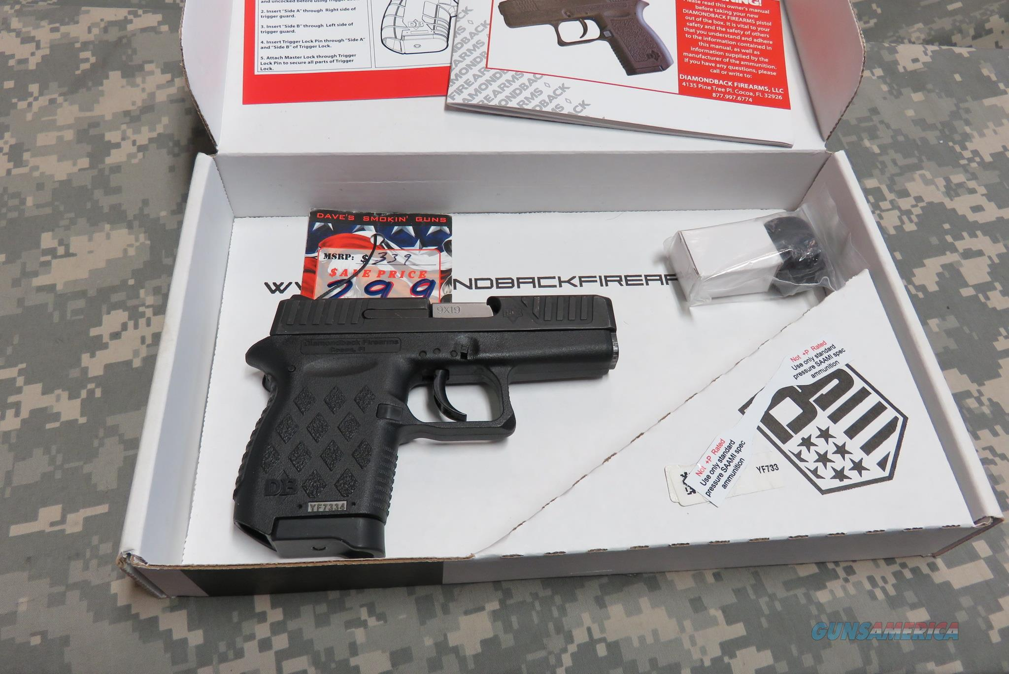 "DIAMONDBACK FA. DB9 9MM MICRO-COMPACT, 3"" BLACK  Guns > Pistols > Diamondback Pistols"