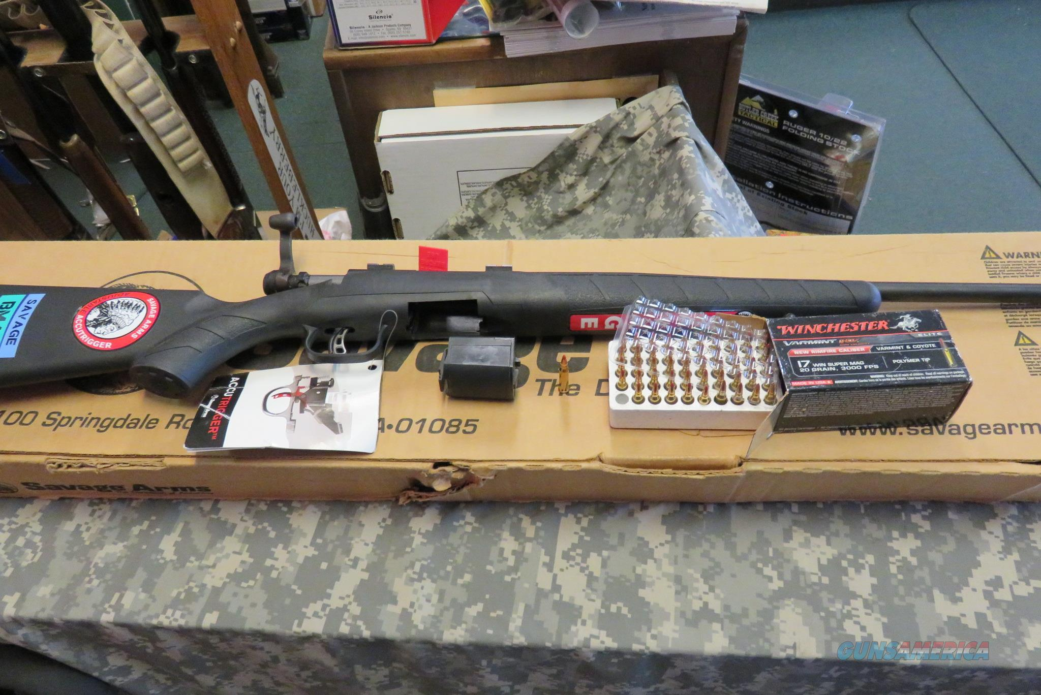 SAVAGE B MAG 17WSM BOLT RIFLE, BLUE, BLK SYN STOCK  Guns > Rifles > Savage Rifles > Rimfire