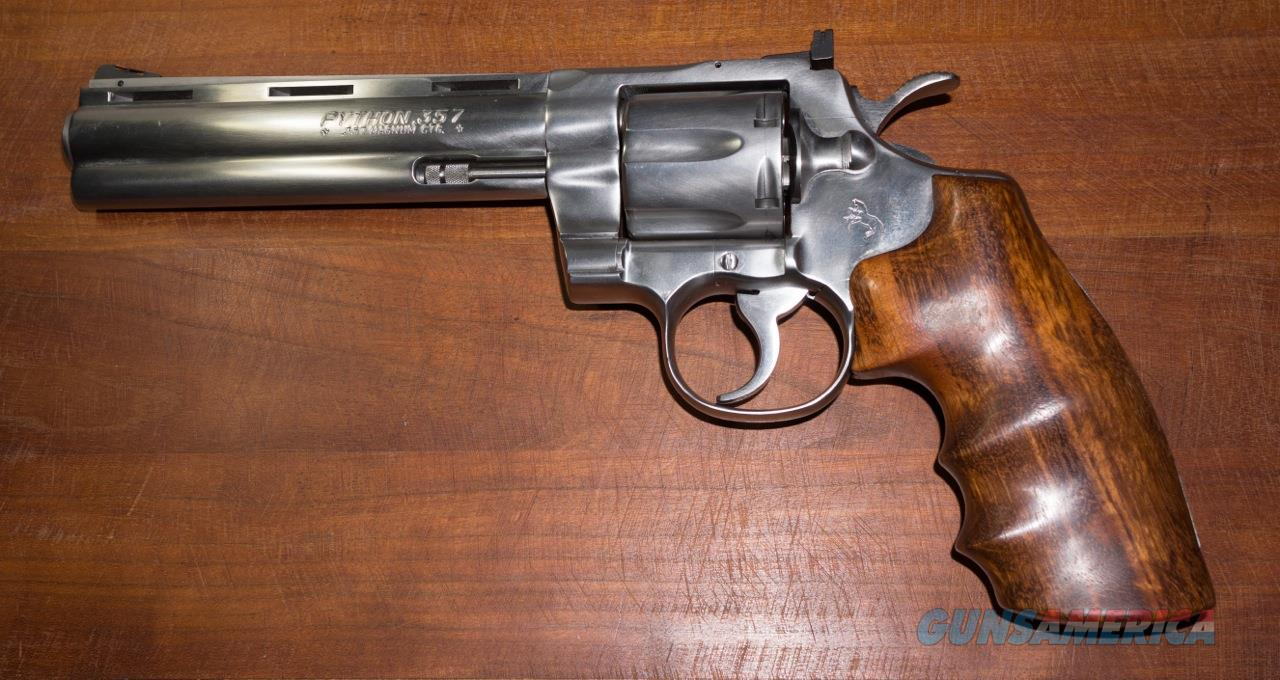 "COLT PYTHON  Satin Stainless Steel 6"" 100% MINT.  Guns > Pistols > Colt Double Action Revolvers- Modern"