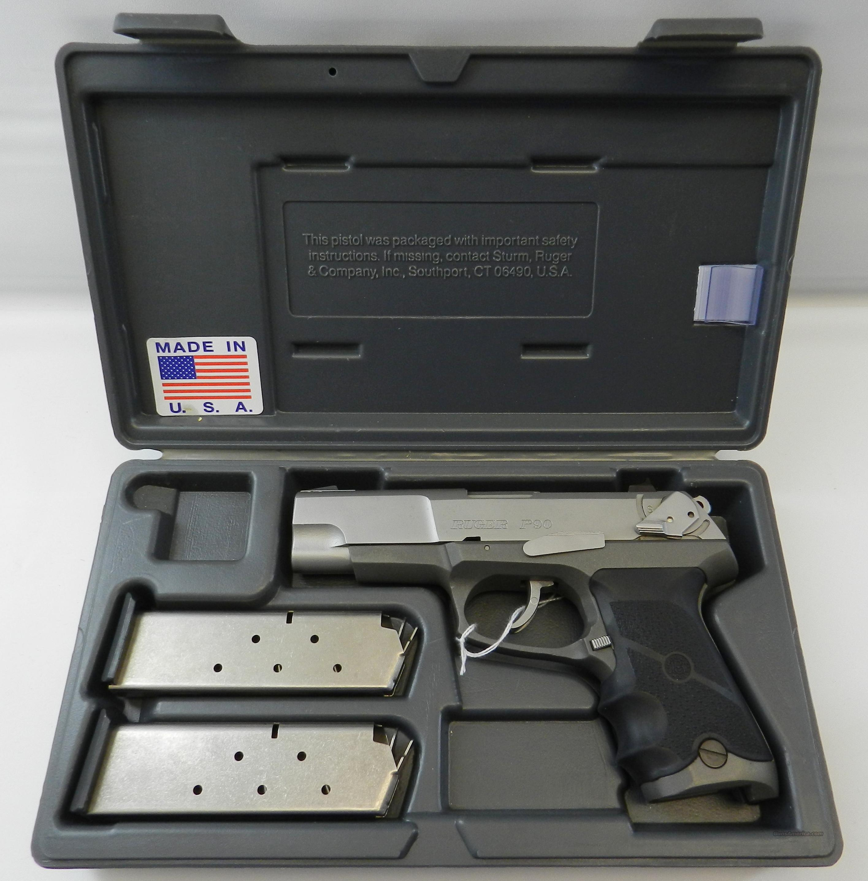 Ruger P90 KP90 Stainless .45 Semi-Auto Pistol w/Hogue Grip 2 Mags Box  Guns > Pistols > Ruger Semi-Auto Pistols > P-Series