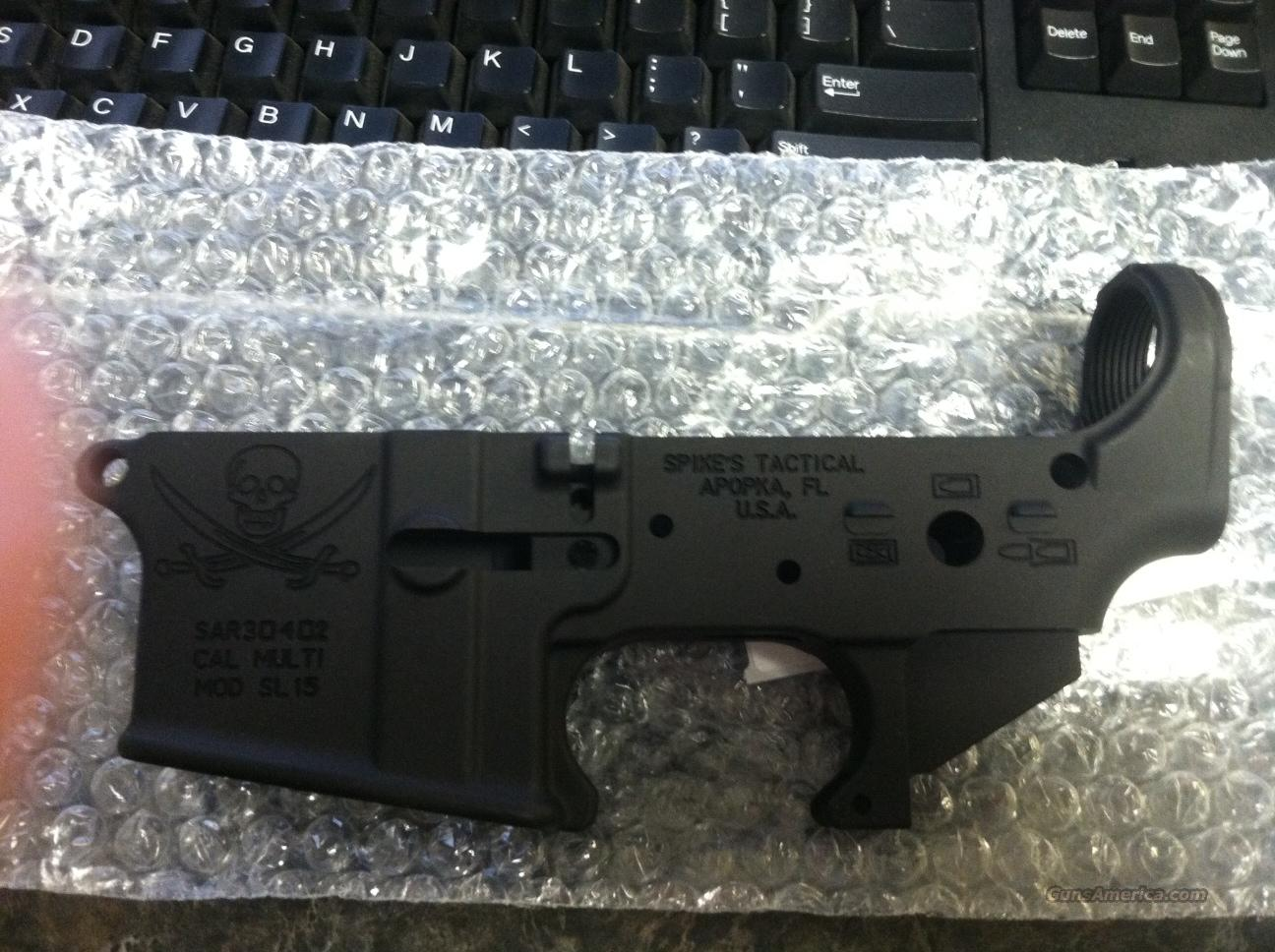 Spikes Tactical Calico Jack Pirate Stripped lower receiver  Guns > Rifles > AR-15 Rifles - Small Manufacturers > Lower Only