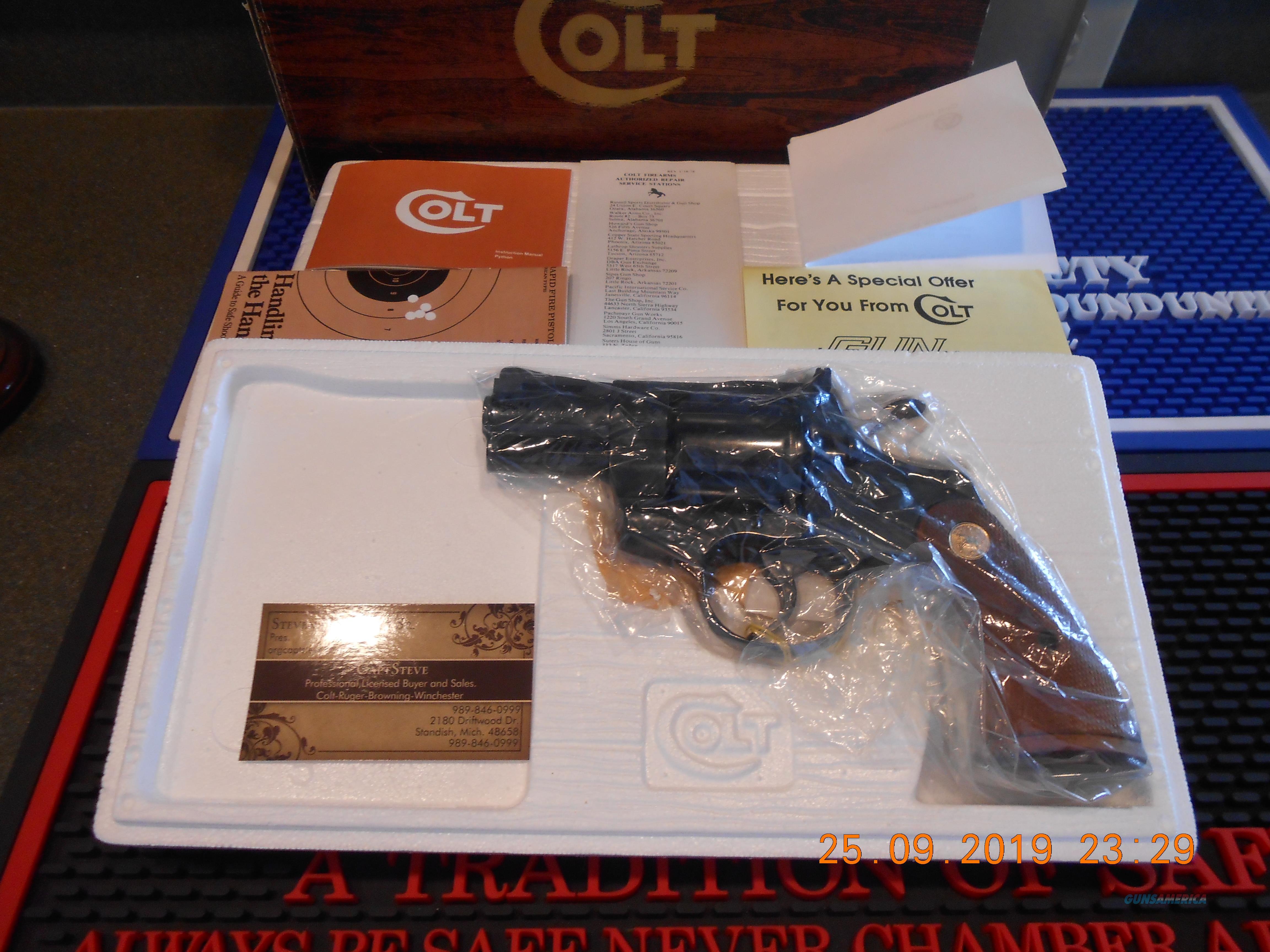 "Colt Python 2 1/2"" Unfired Walnut grips, Complete  Guns > Pistols > Colt Double Action Revolvers- Modern"