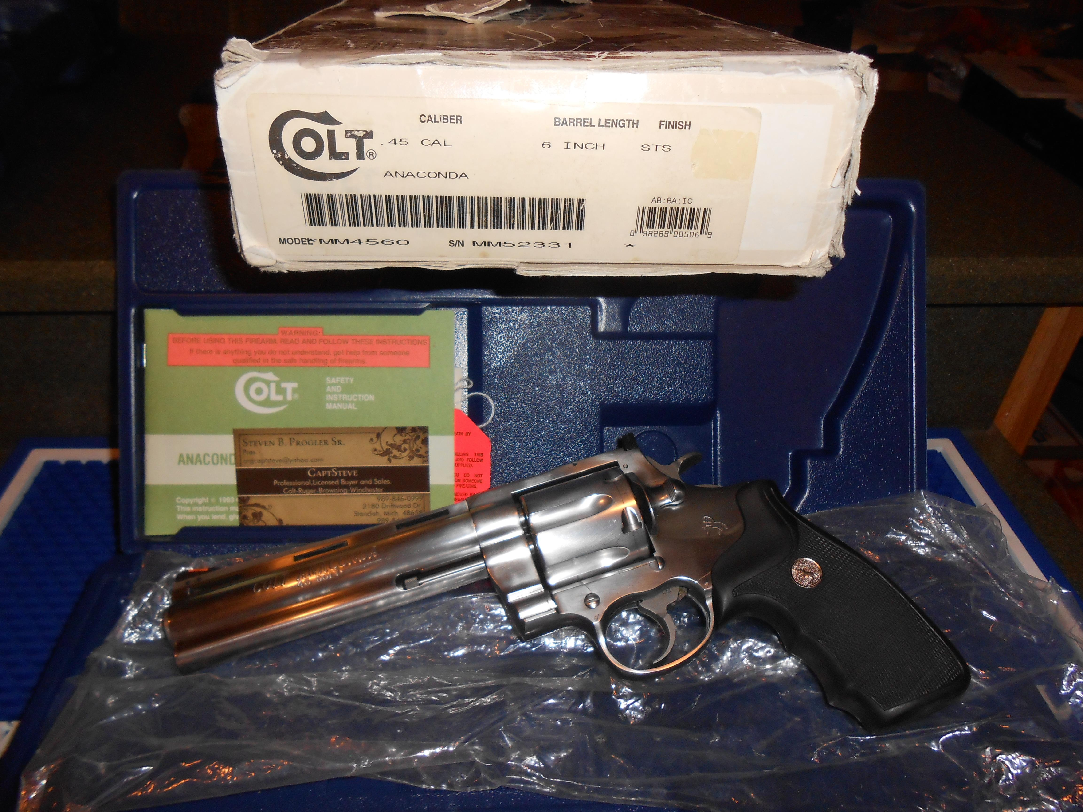 "Colt Anaconda 6"" 45 LC Complete Label, Box/ Papers  Guns > Pistols > Colt Double Action Revolvers- Modern"