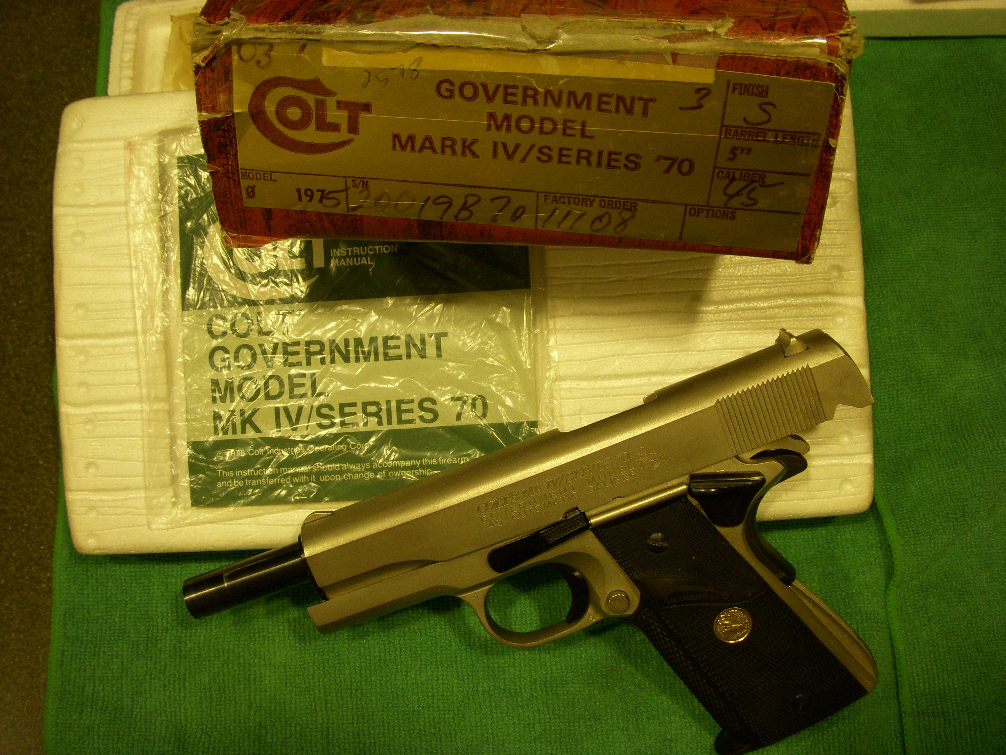 Colt Gov't Mk IV  70 Seies in box 45 Cal.  Guns > Pistols > Colt Automatic Pistols (1911 & Var)