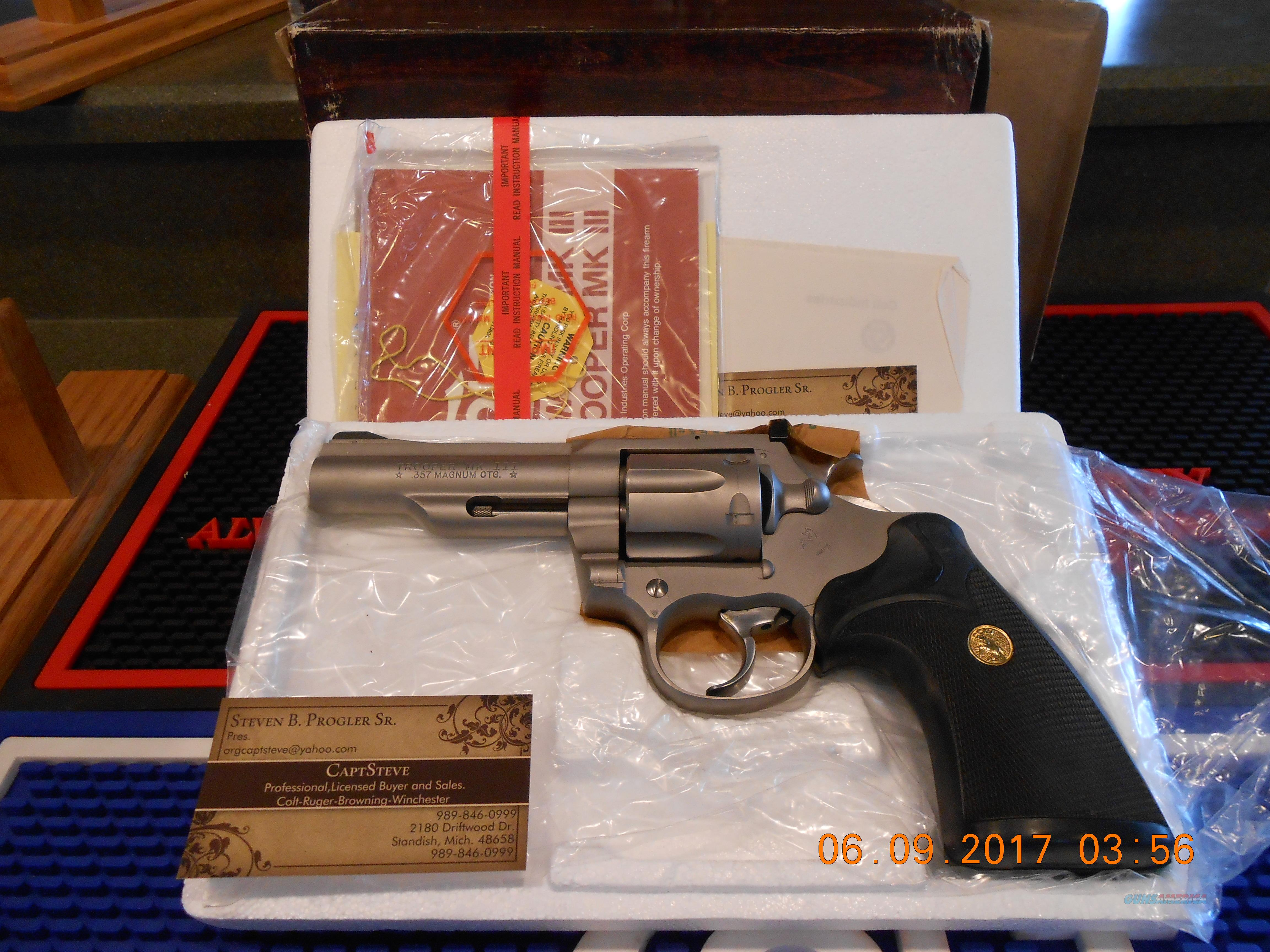 "Unfired/NOS Colt Trooper Mk III 4"" E-Nickel Complete 357 Mag.  Guns > Pistols > Colt Double Action Revolvers- Modern"