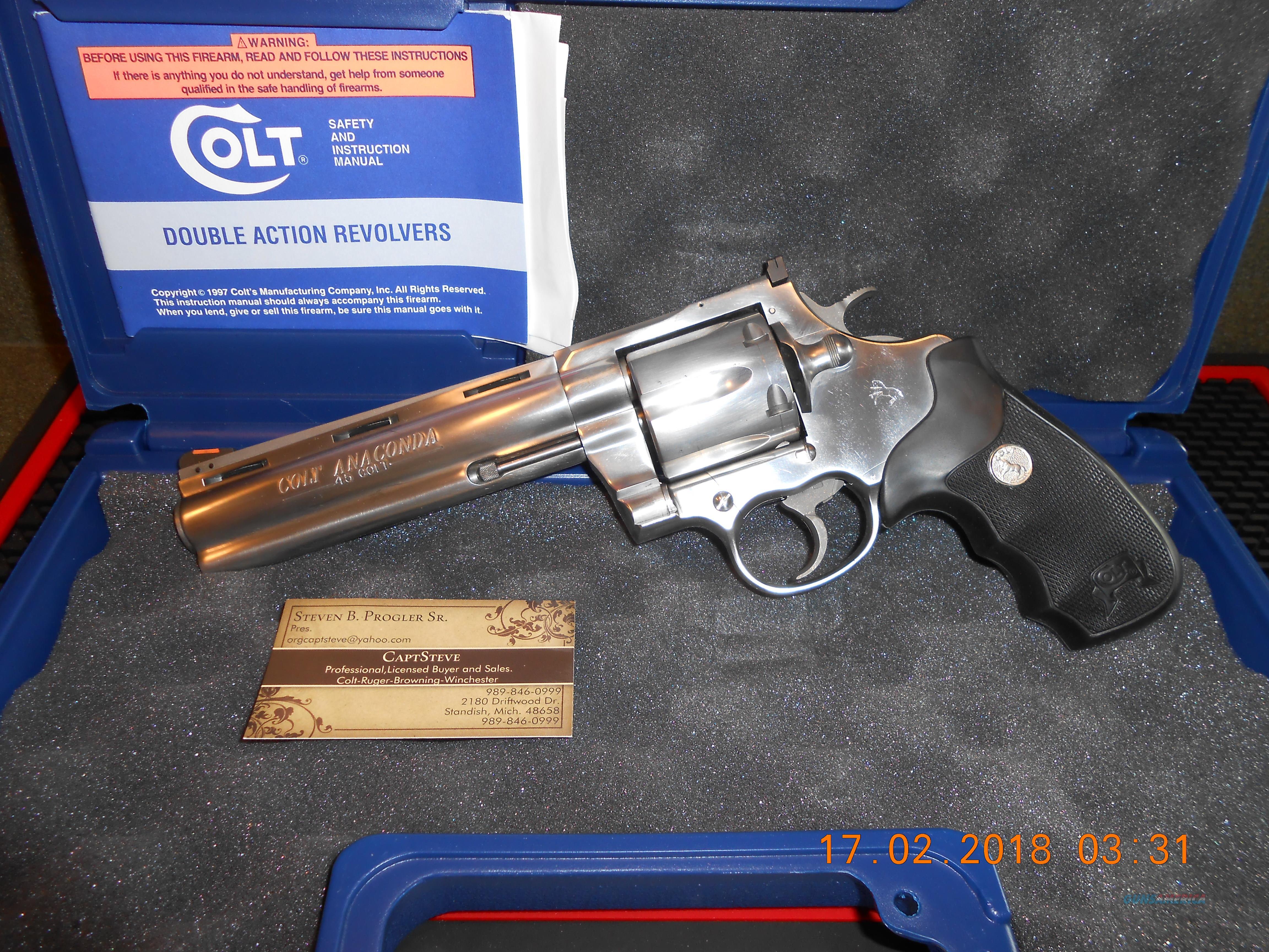 """Colt 6"""" Anaconda 45 Long Colt  Guns > Pistols > Colt Double Action Revolvers- Modern"""