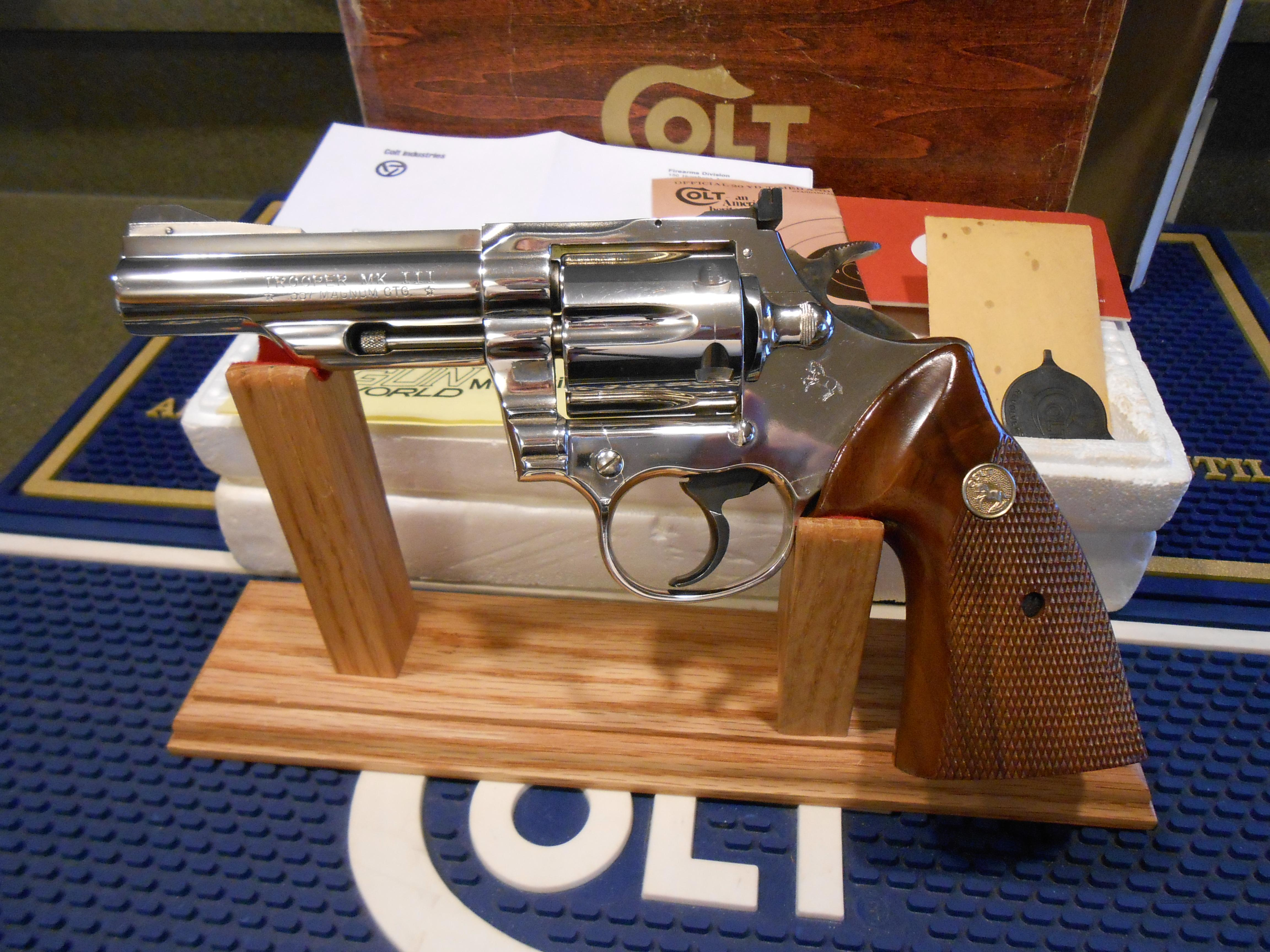"Colt Trooper Mk III 4"" Nickel Complete !!  Guns > Pistols > Colt Double Action Revolvers- Modern"