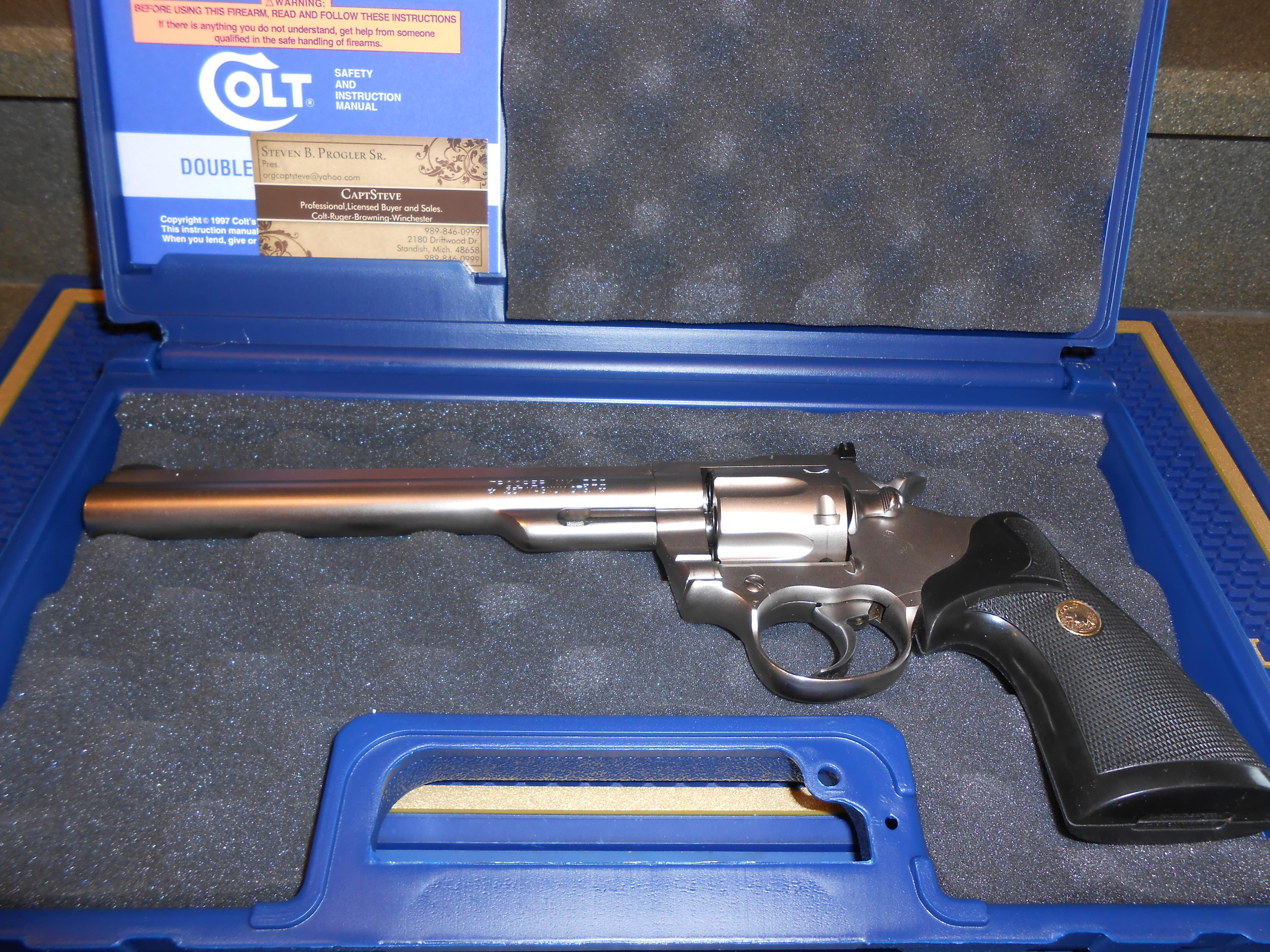 "Colt  8"" E Nickel Trooper Mk III 357 Mag.  Guns > Pistols > Colt Double Action Revolvers- Modern"
